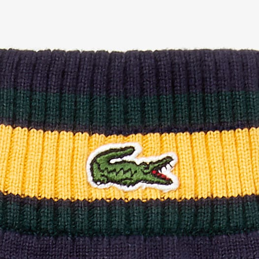 Unisex Lacoste LIVE Striped Cashmere And Cotton Gloves