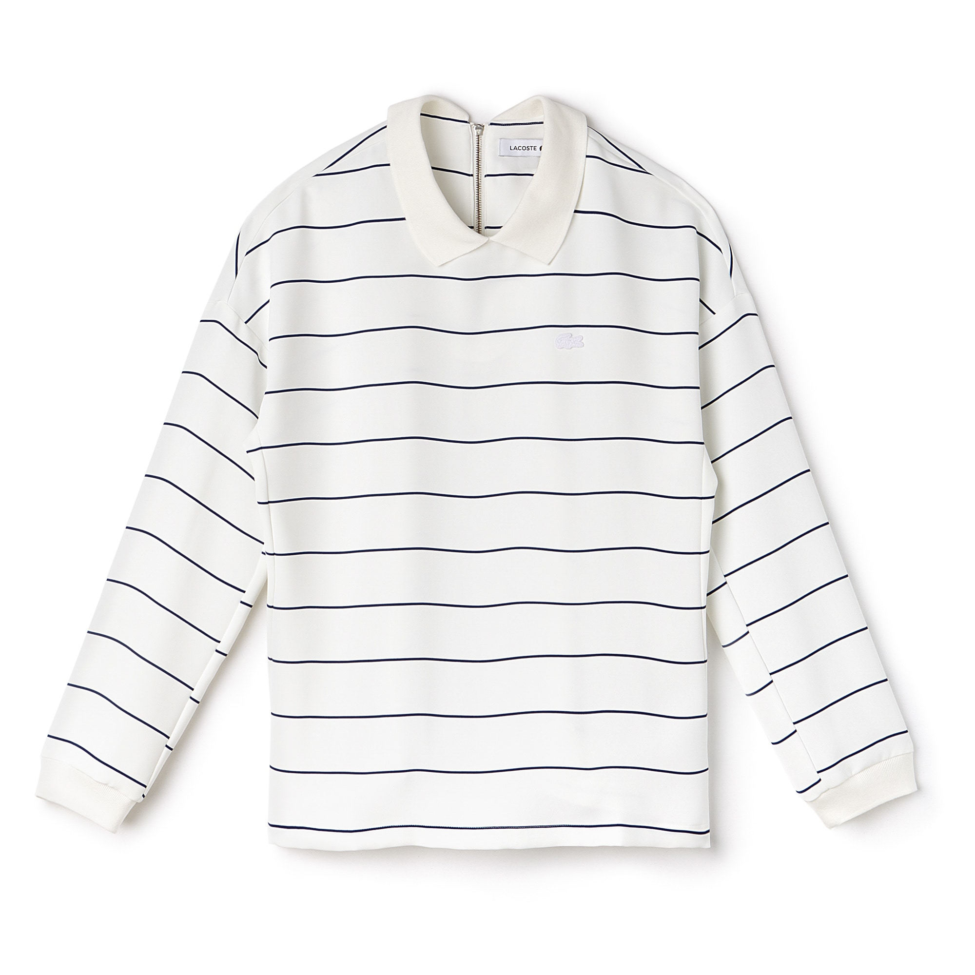Women's Polo Collar Back Zip Striped Crepe Shirt
