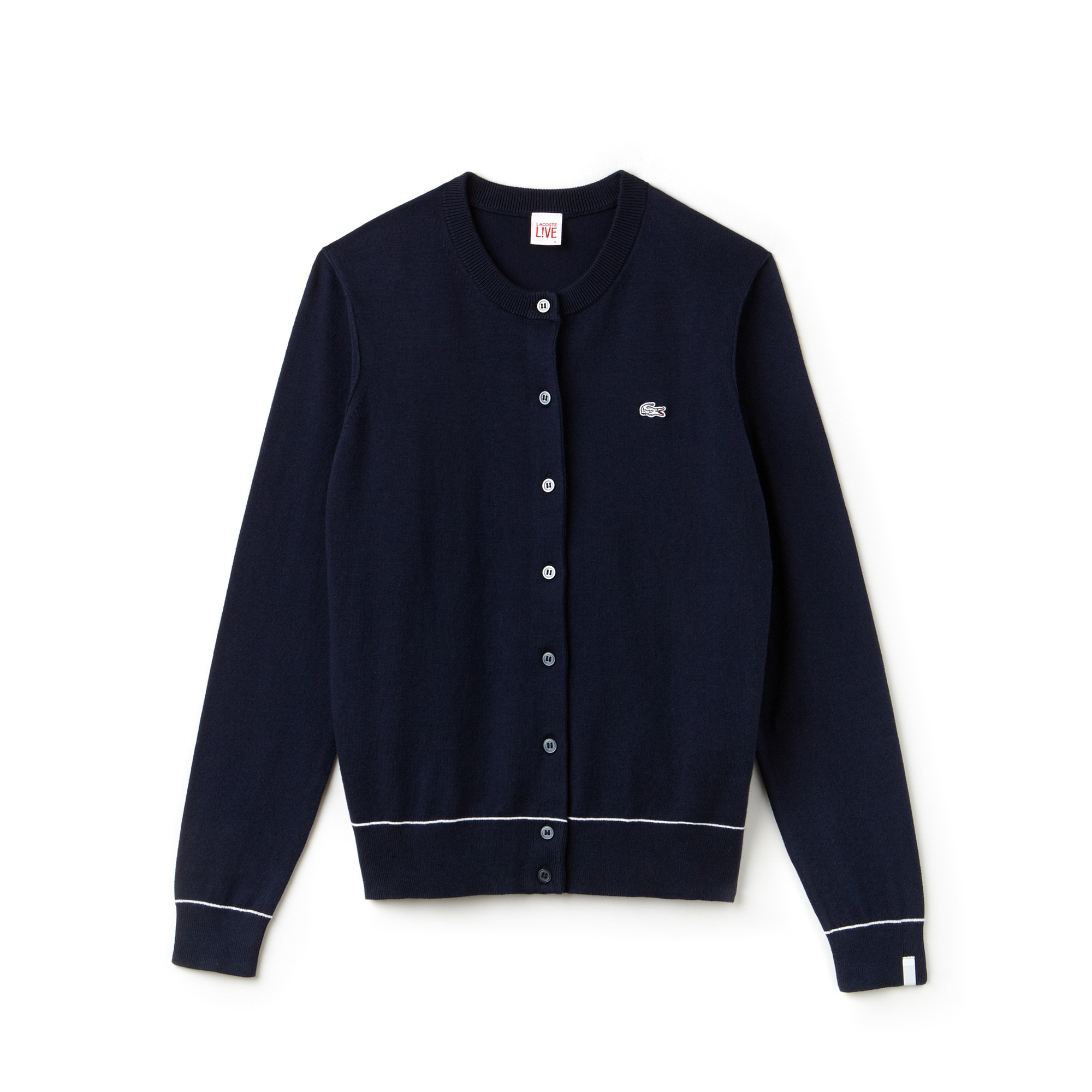 Women's Lacoste LIVE Crew Neck Cotton And Silk Jersey Cardigan