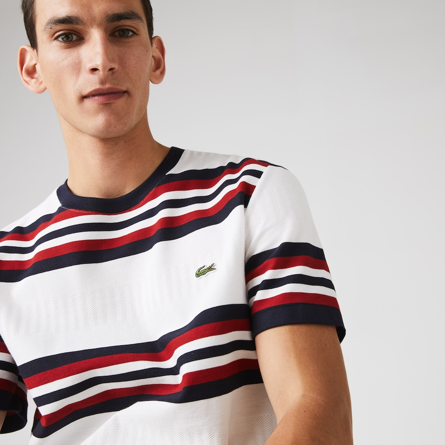 Men's Made in France Tricolour Striped Cotton T-Shirt