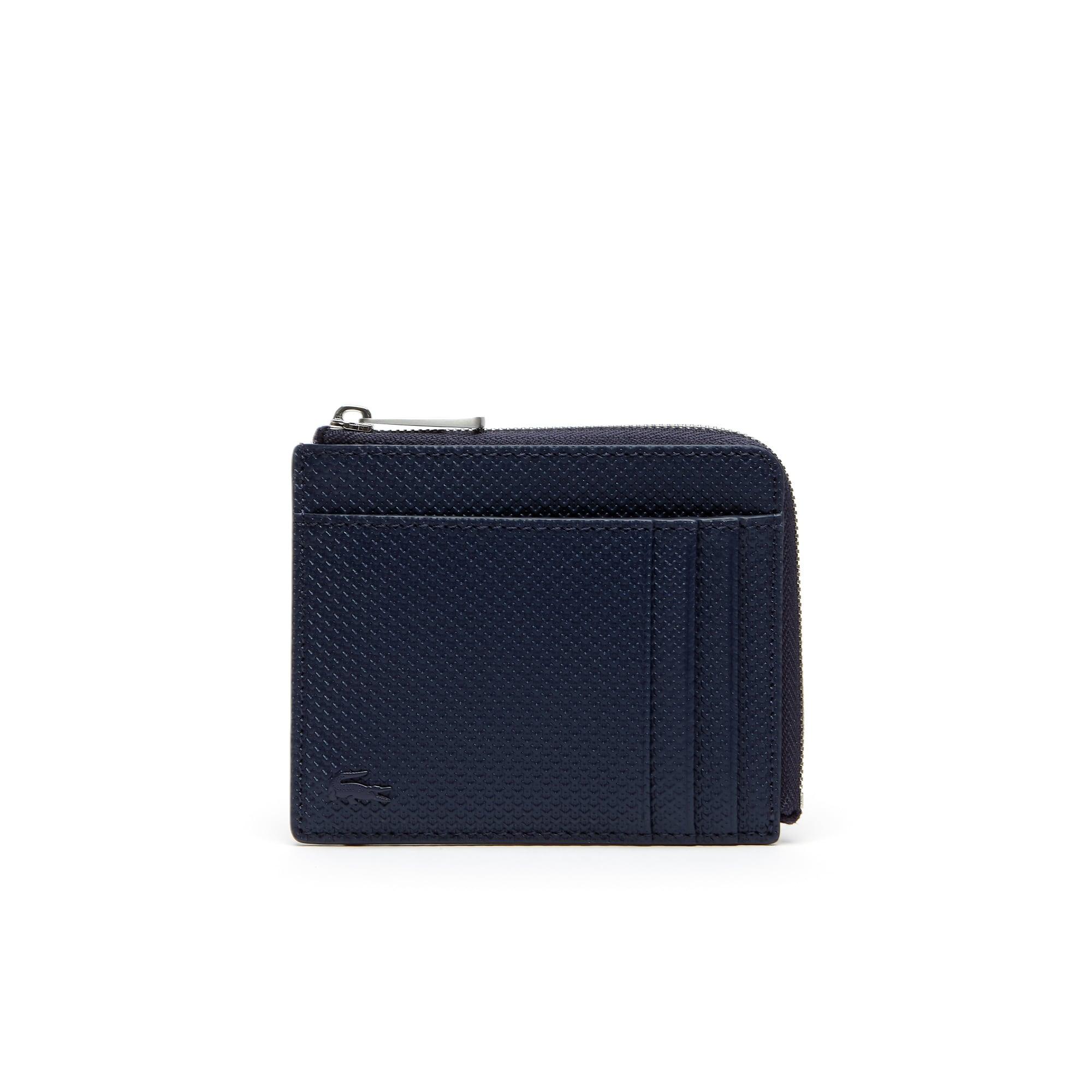 Men's Chantaco Zippered Matte Piqué Leather Card Holder