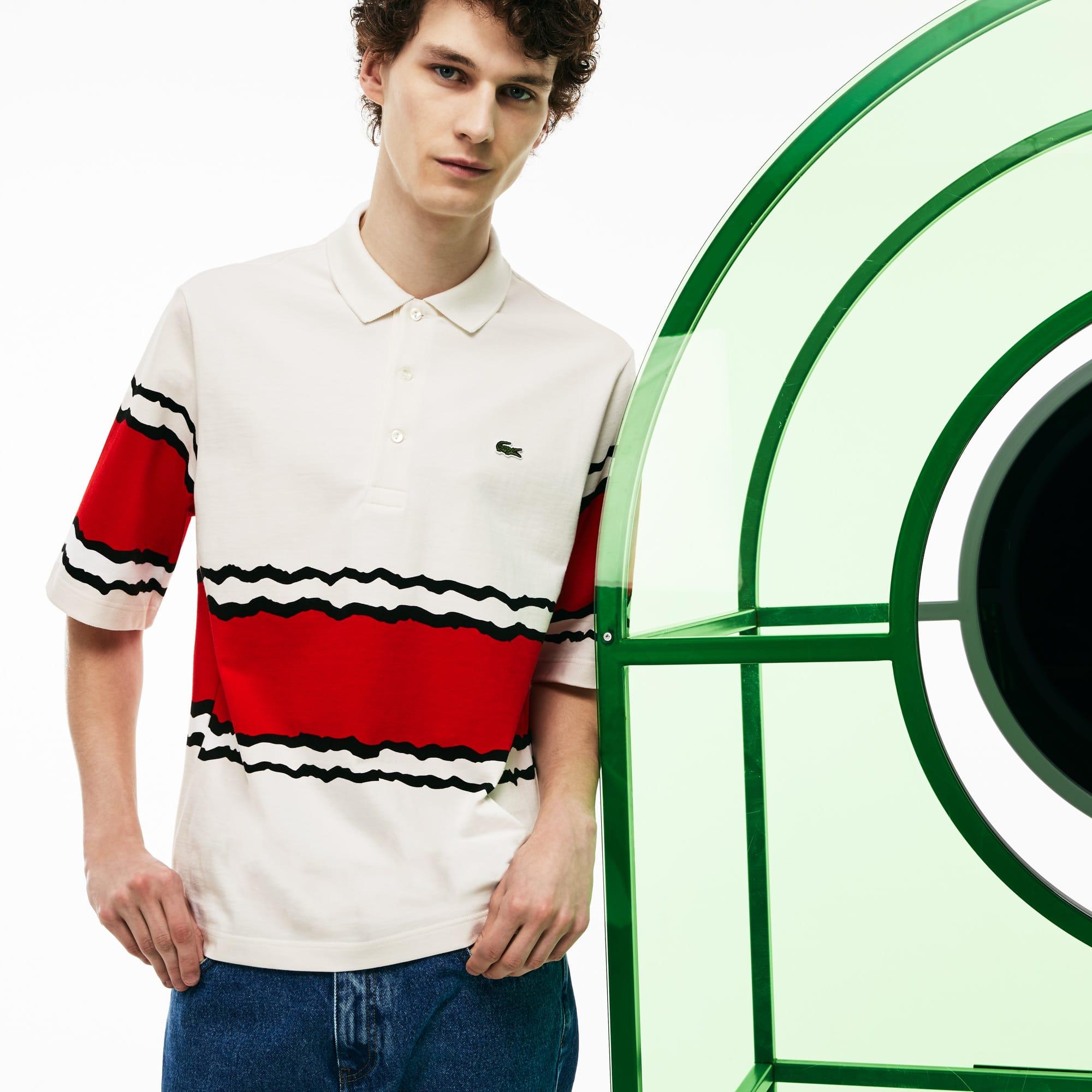 Men's Lacoste Fashion Show Thick Striped Cotton Jersey Polo