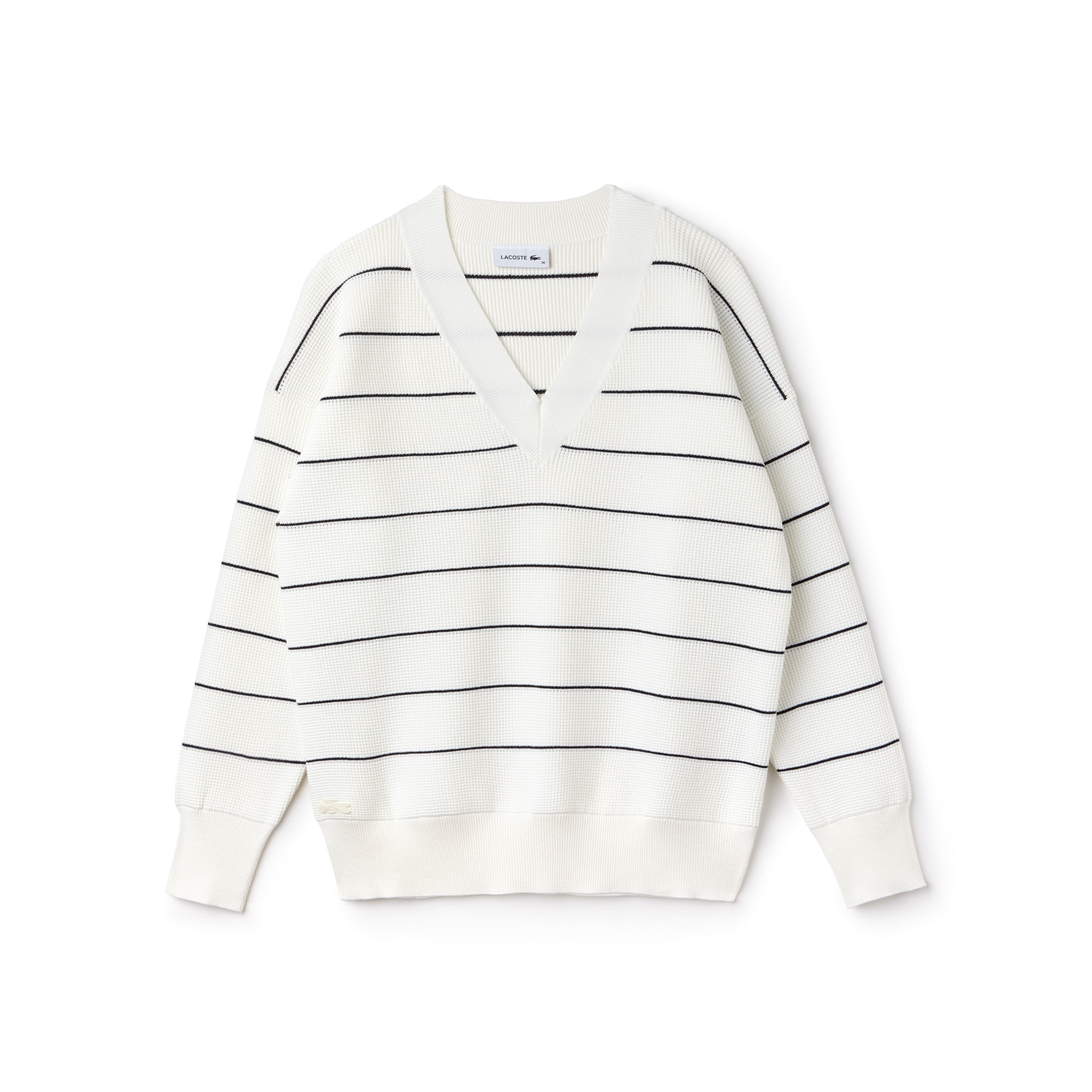 Women's V-neck Striped Honeycomb Knit Sweater