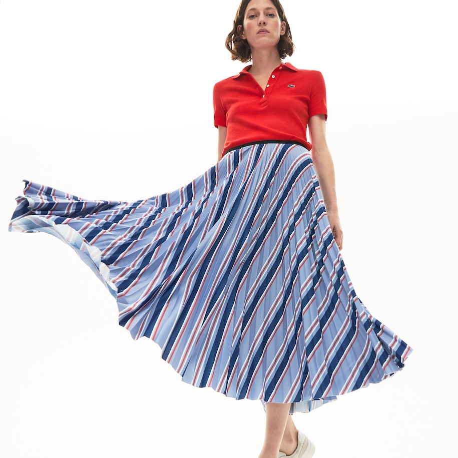 Women's Multicolour Striped Pleated Skirt