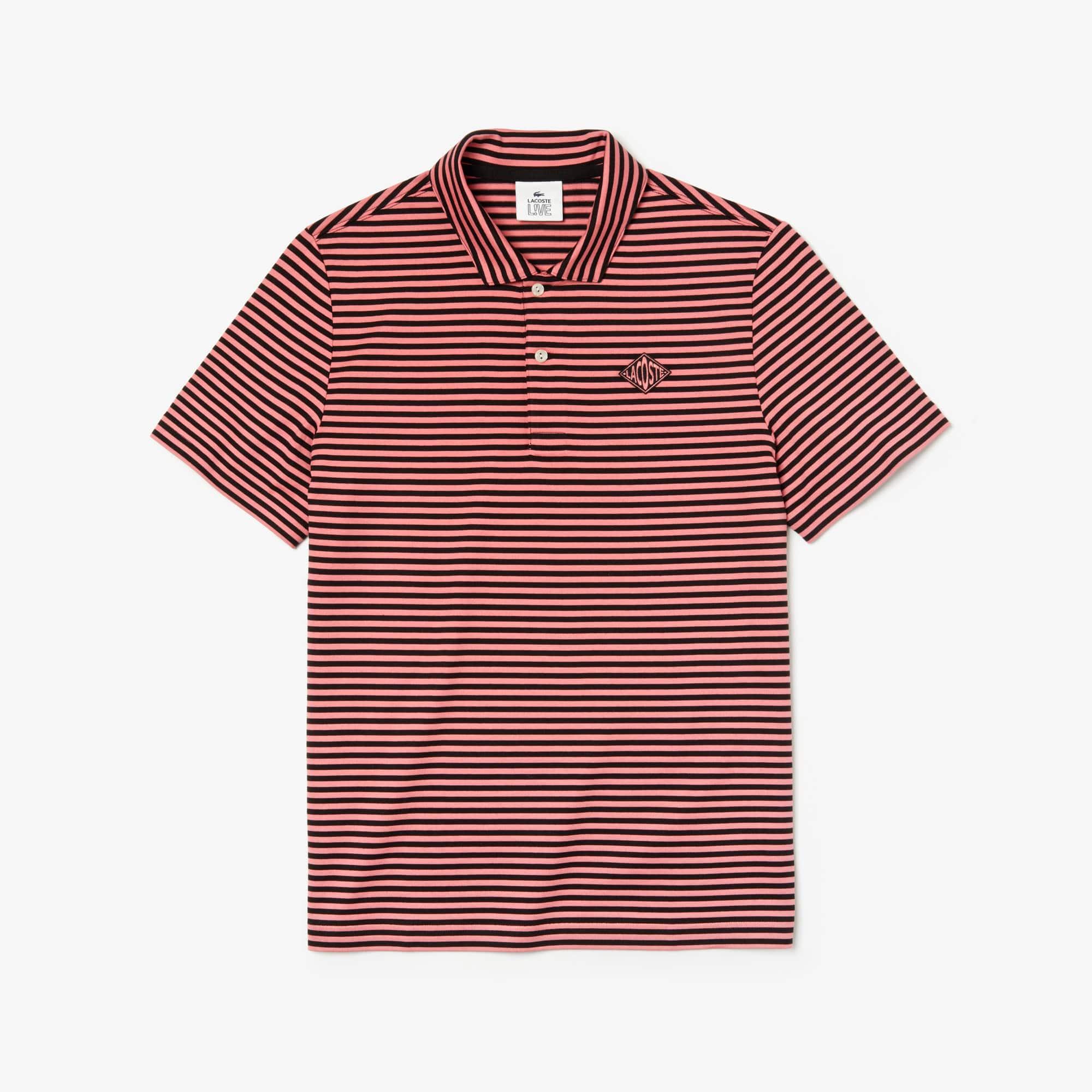f3439e30c3 Men's Lacoste LIVE Regular Fit Diamond Badge Striped Cotton Polo ...