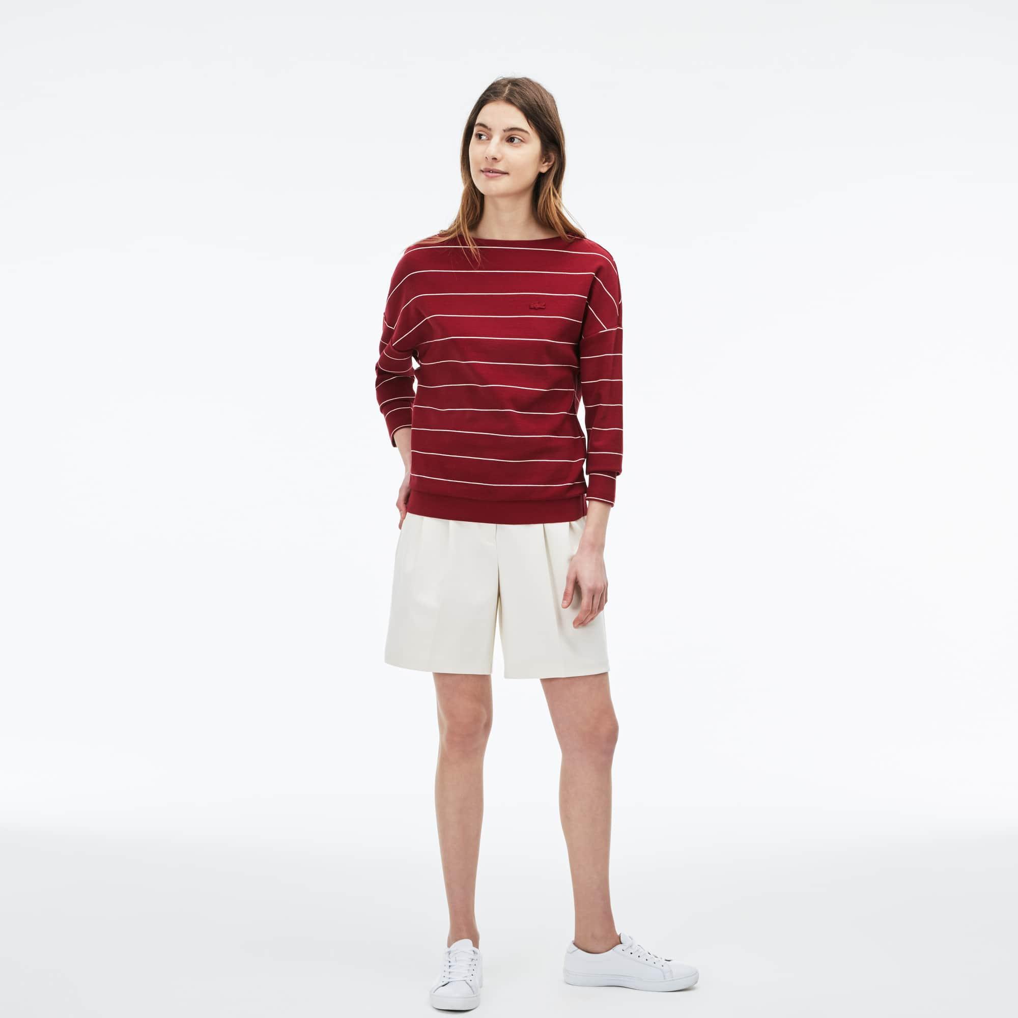 Women's Boat Neck Striped Cotton Honeycomb Sweatshirt