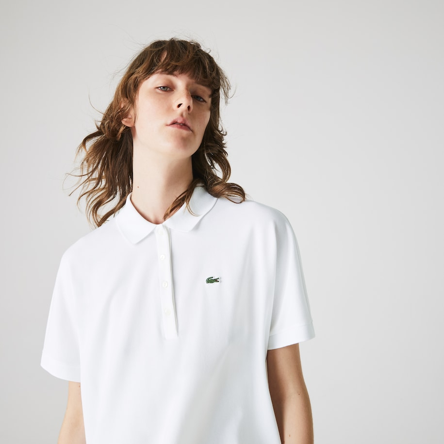 Women's Lacoste Loose Fit Kimono-Sleeved Piqué Polo Shirt