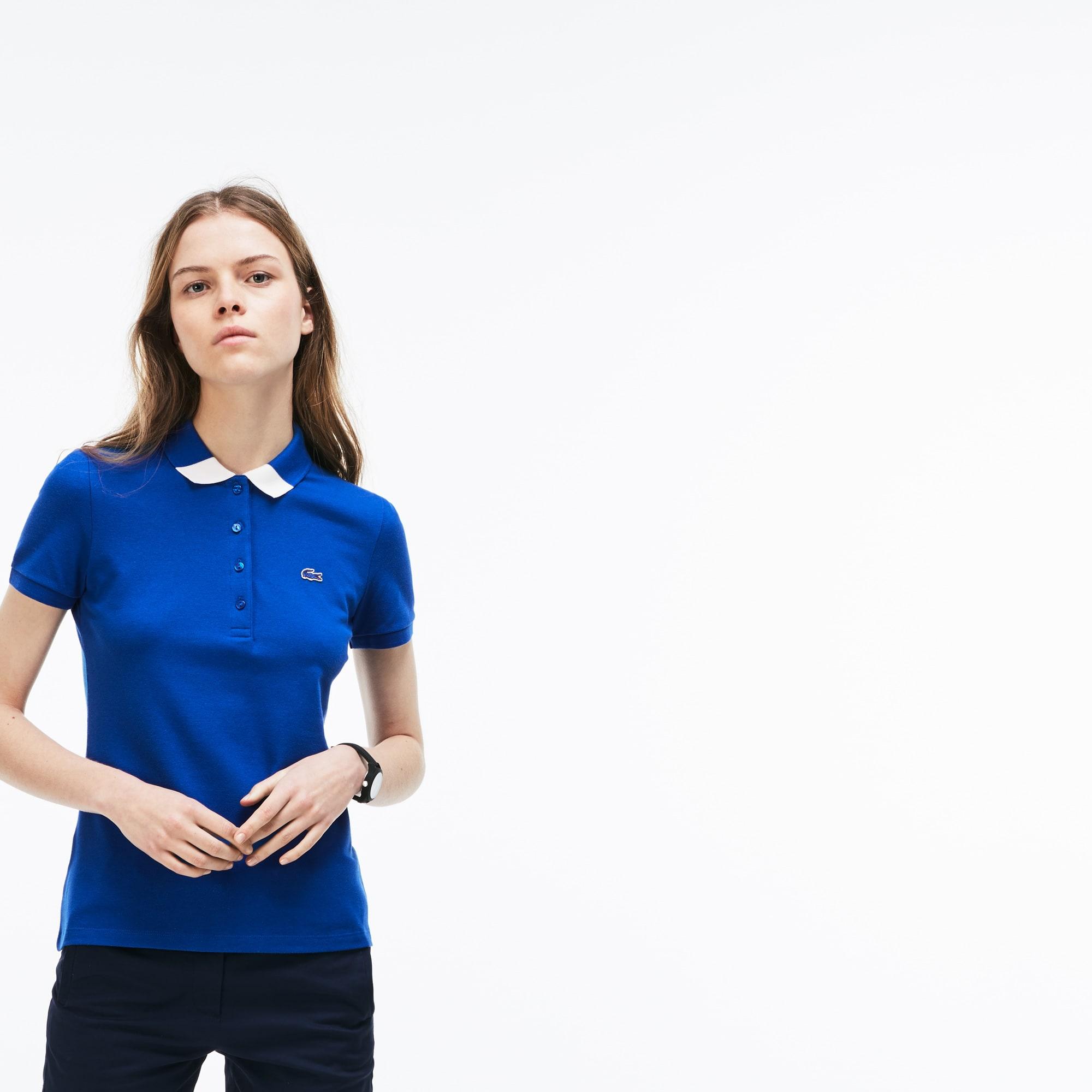 Women's Slim Fit Bicolour Collar Stretch Mini Piqué Polo