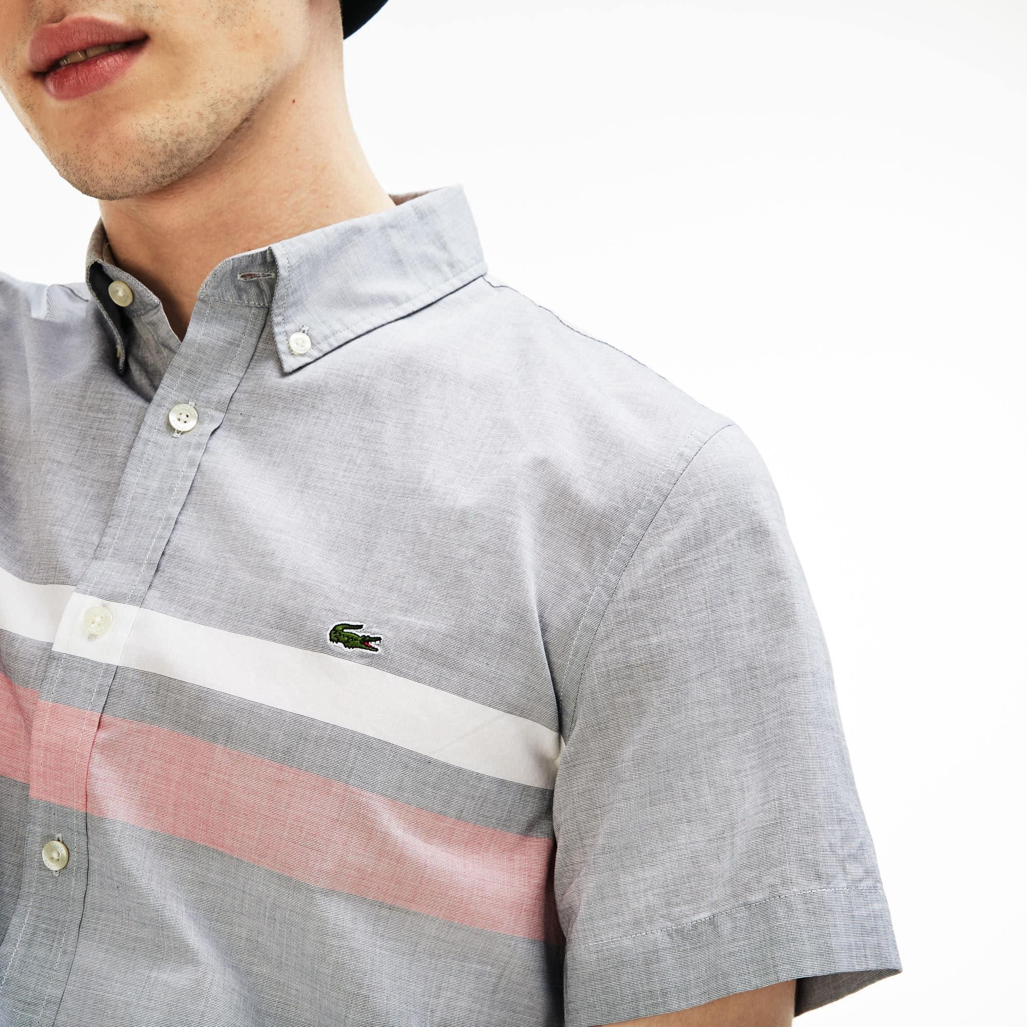 b09c8cc1a4 Men's Slim Fit Tricolour Striped Cotton Short Sleeves Shirt | LACOSTE