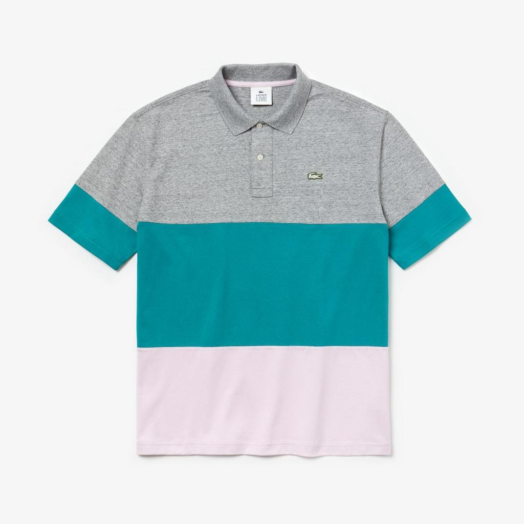 Mens Lacoste Live Loose Fit Colourblock Cotton Polo Shirt Lacoste