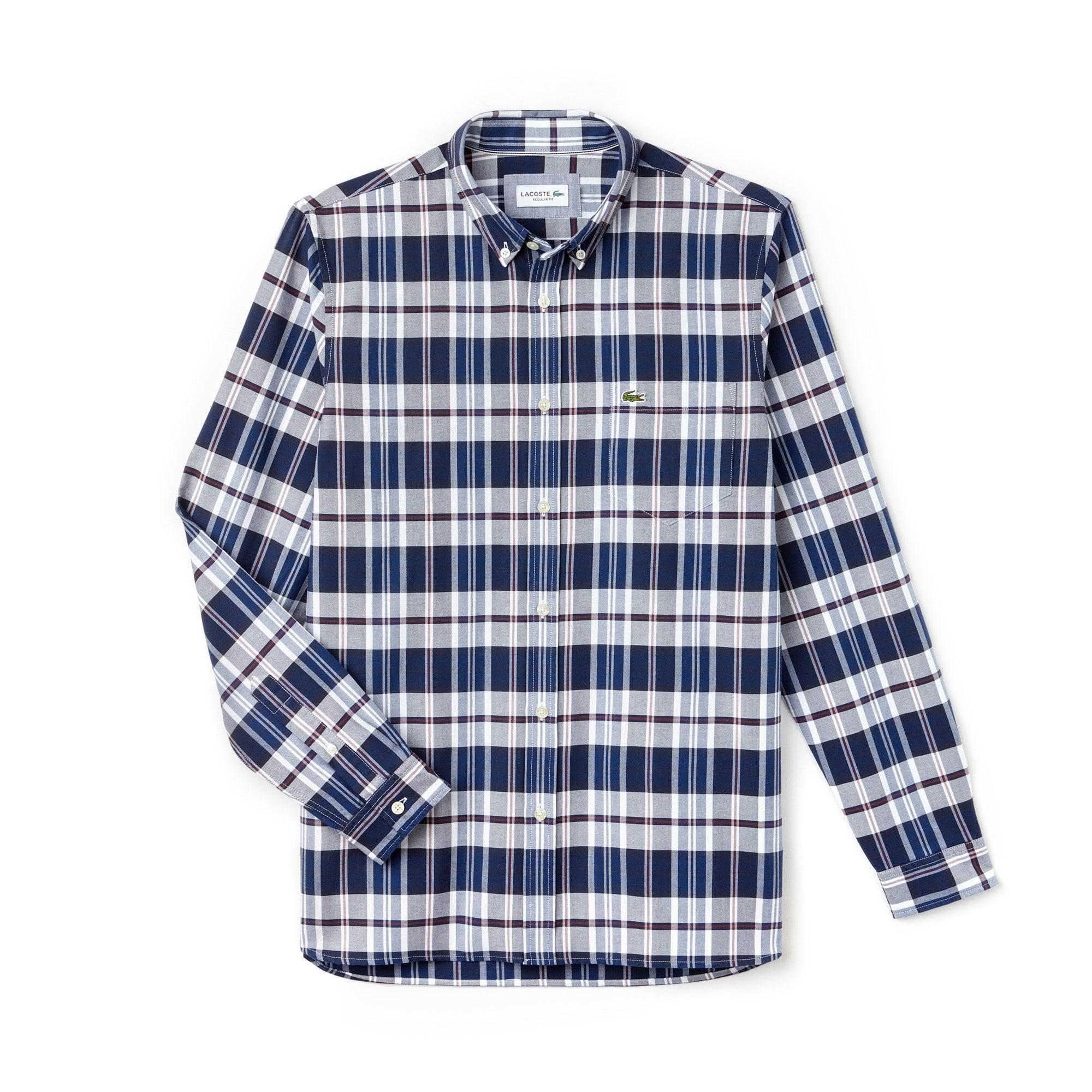 Men's Regular Fit Colored Check Cotton Oxford Shirt