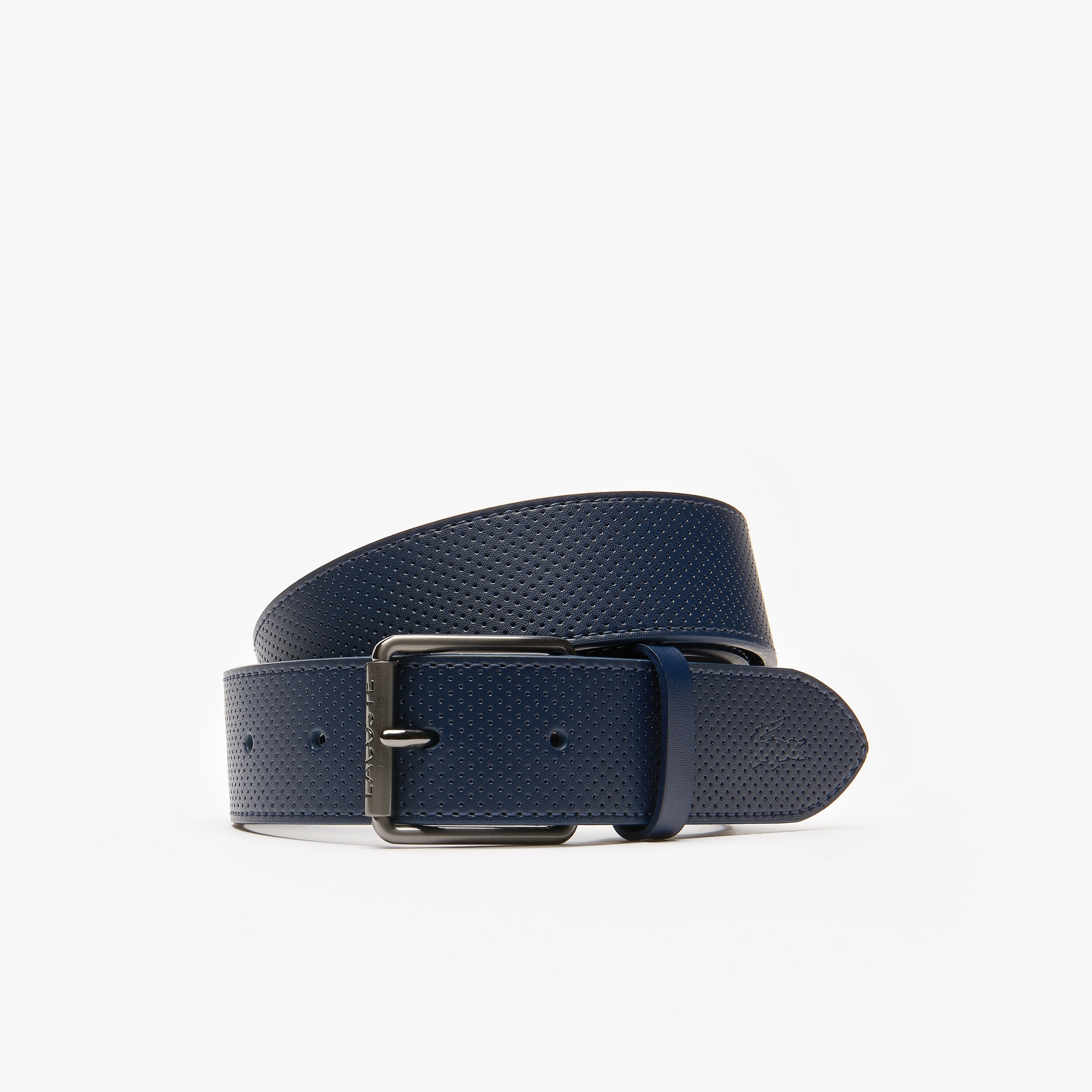 b4ac1770c Men s Lacoste Engraved Rolling Tongue Buckle Punched Leather Belt ...