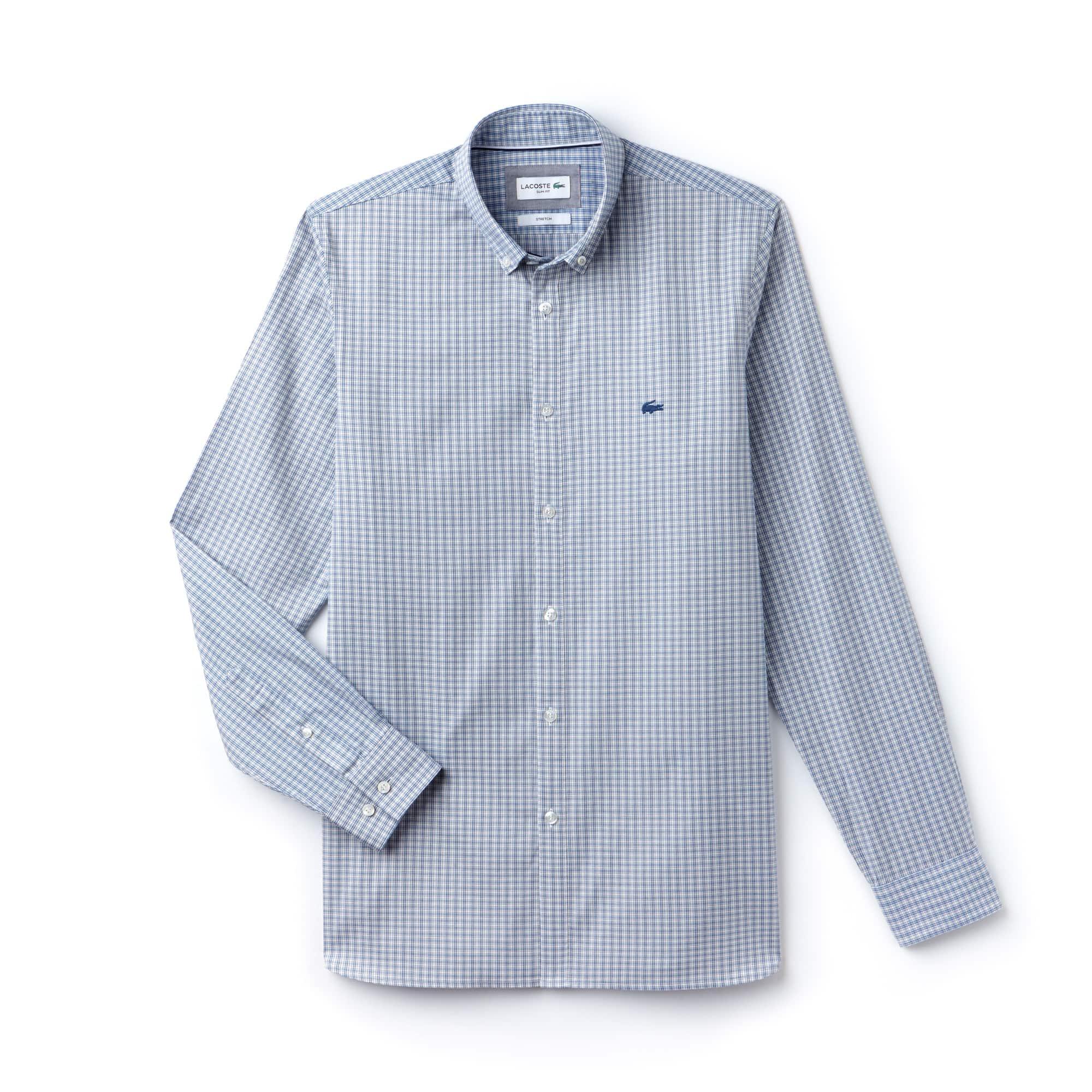 Men's Slim Fit Check Stretch Pinpoint Cotton Shirt