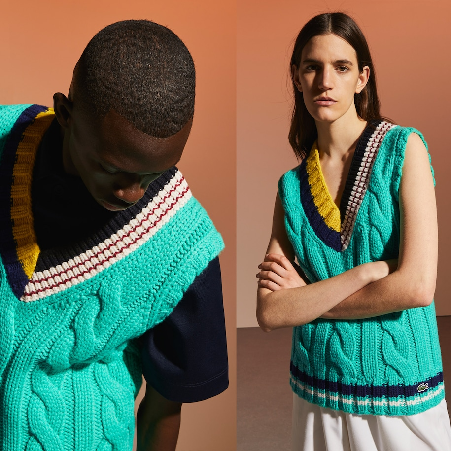 Unisex Fashion Show Edition Colorful Cable knit Sweater Vest