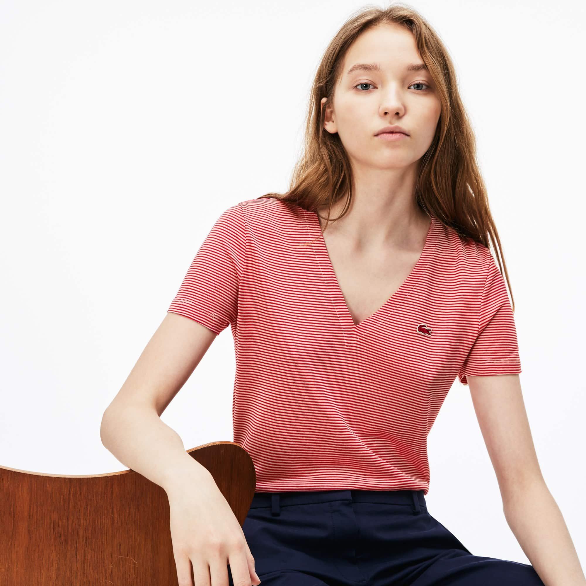 Women's V-neck Pinstriped Cotton Ottoman Jersey T-shirt