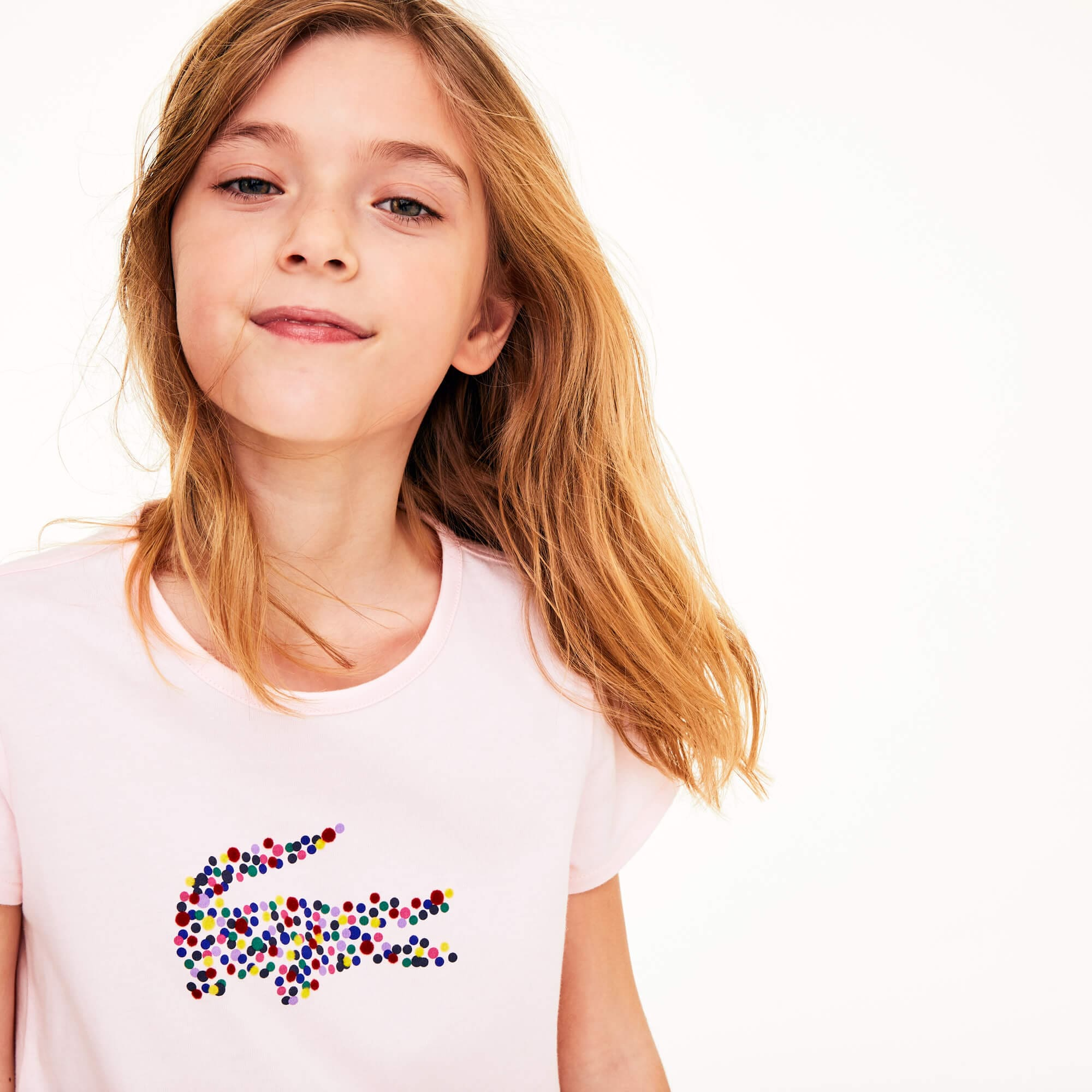 Girls' Polka Dot Print Crocodile Cotton T-shirt
