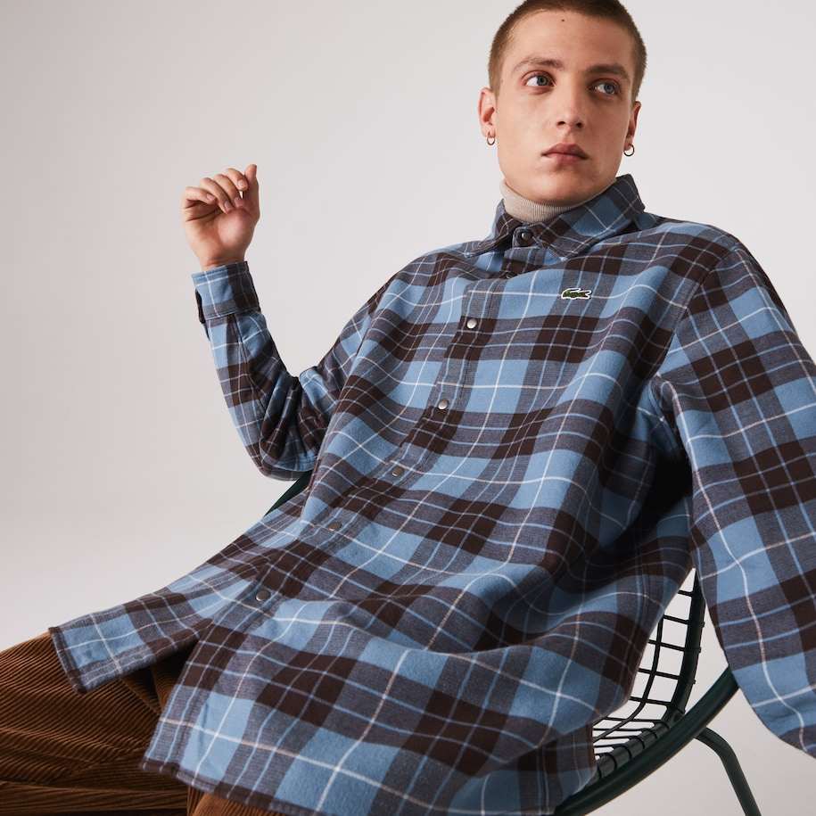 Men's Lacoste LIVE Checked Flannel Lined Oversized Shirt