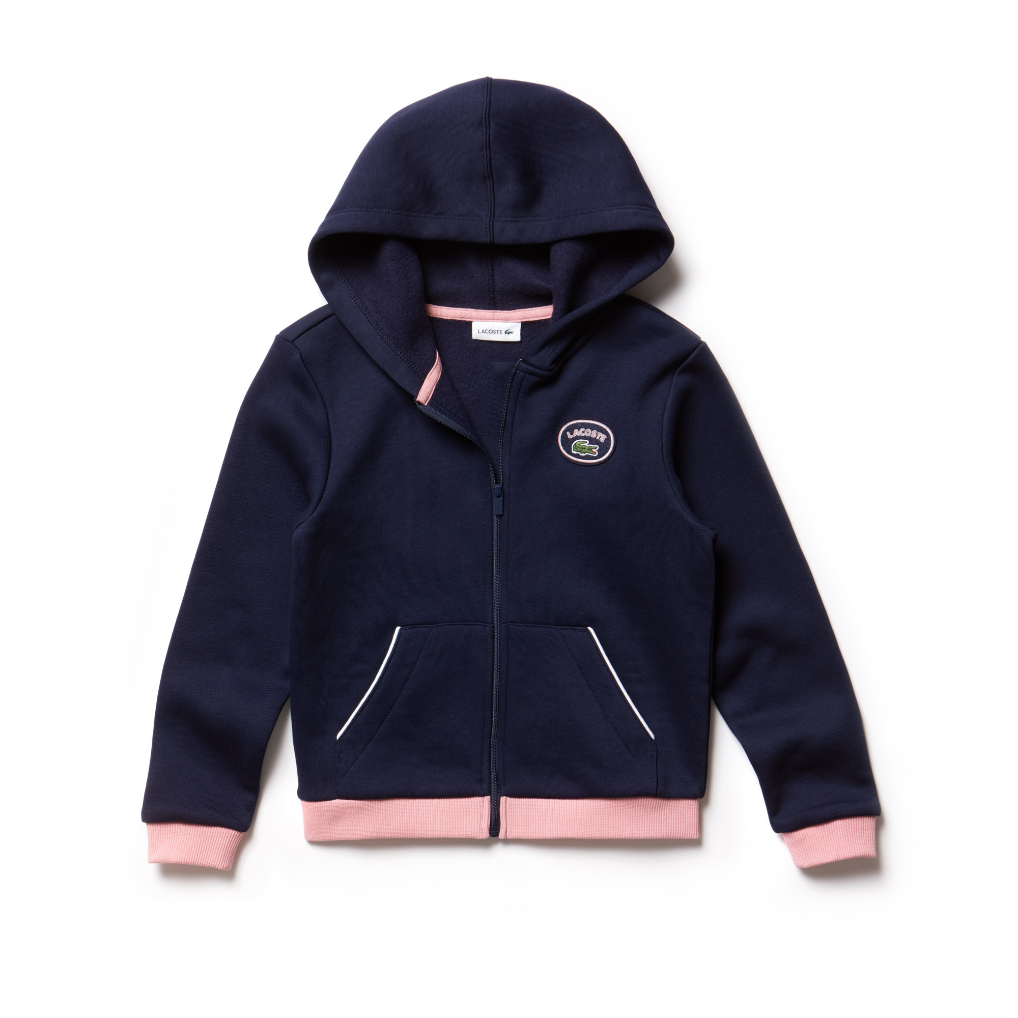 Girls' Hooded Zippered Contrast Accent Fleece Sweatshirt