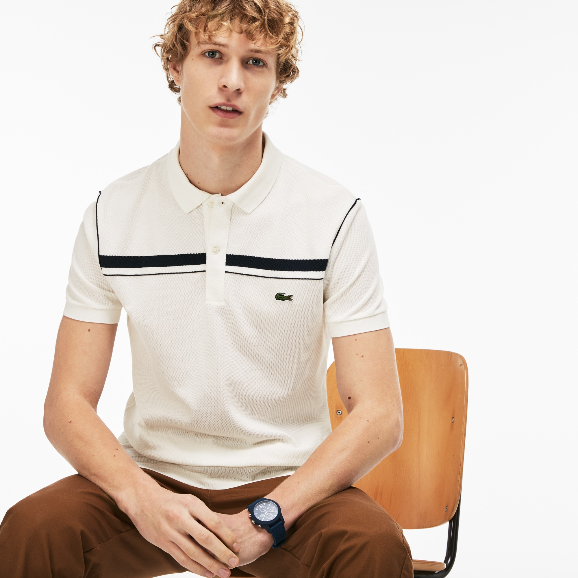 Men's Lacoste Regular Fit Contrast Bands Piqué Polo