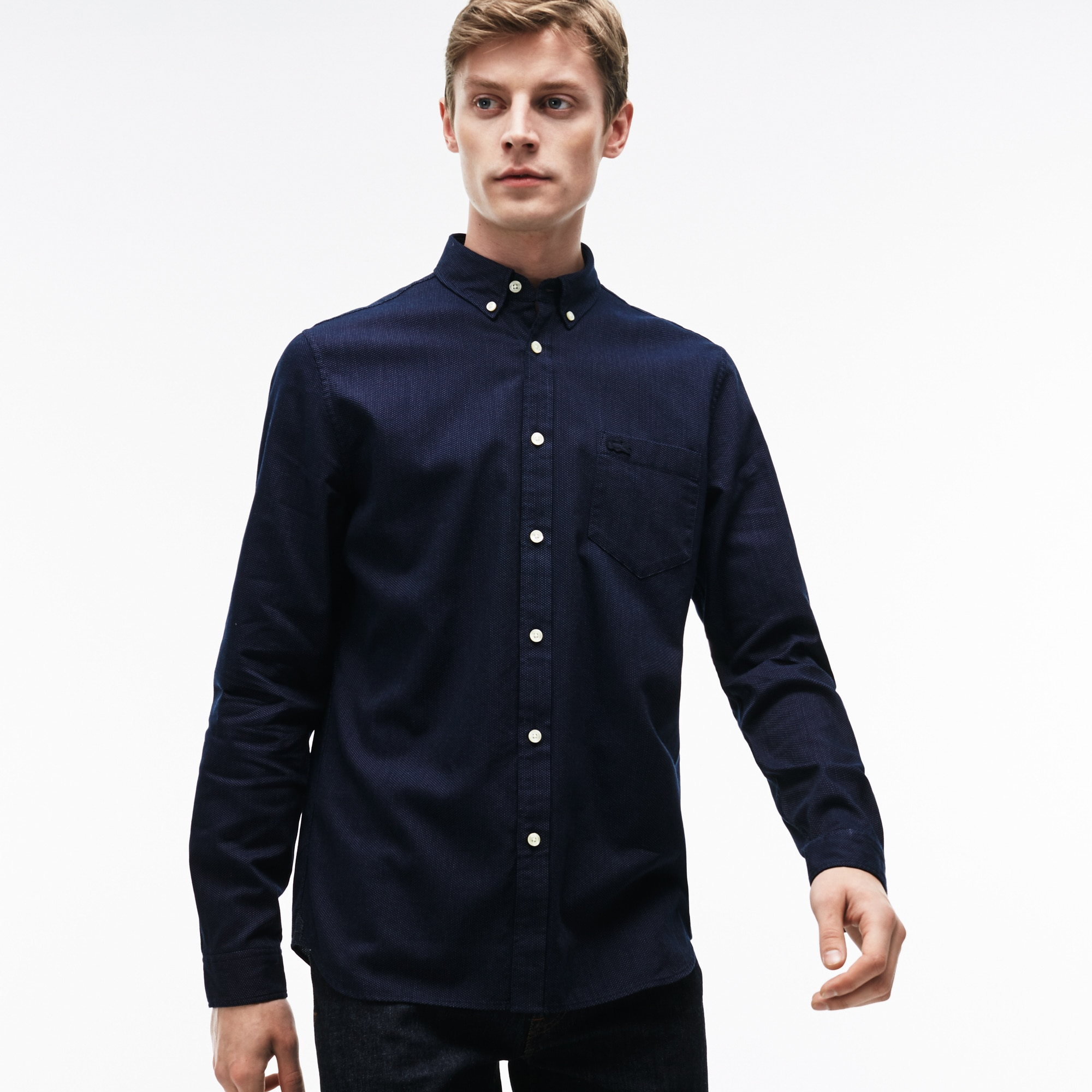Men's Regular Fit Polka Dot Jacquard Poplin Shirt