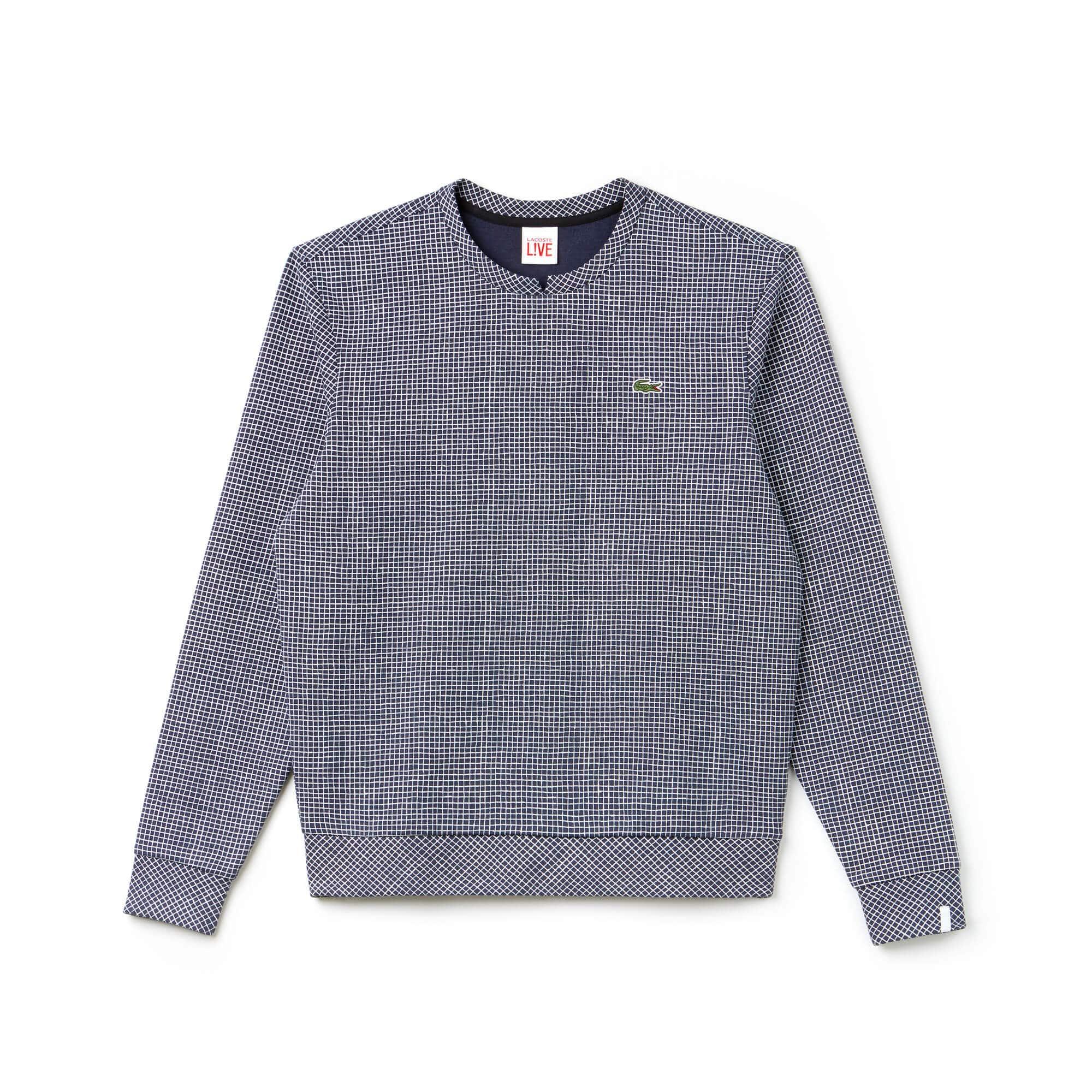 Men's Lacoste LIVE Crew Neck Mini Check Fleece Sweatshirt