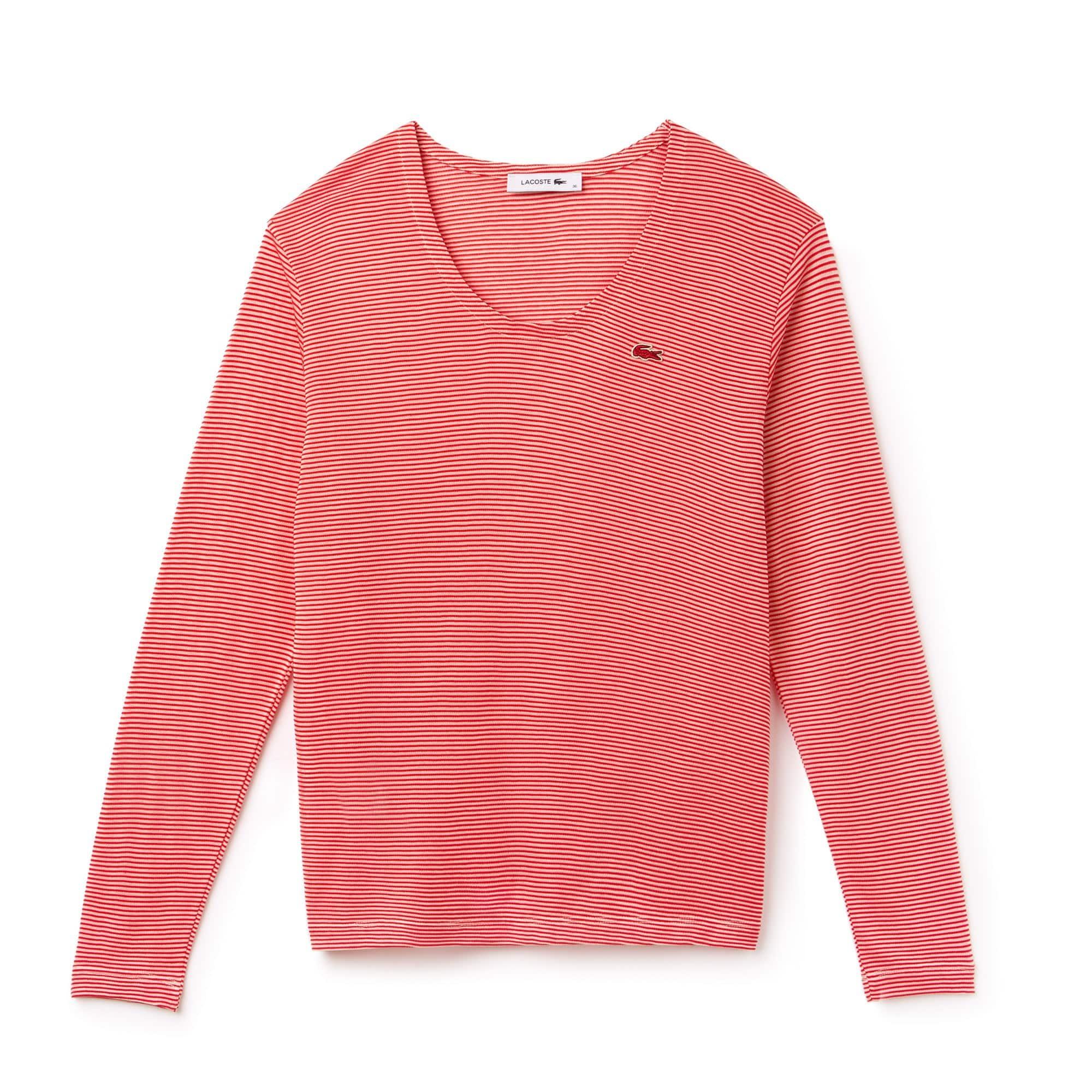 Women's Wide Neck Pinstriped Ottoman Jersey T-shirt