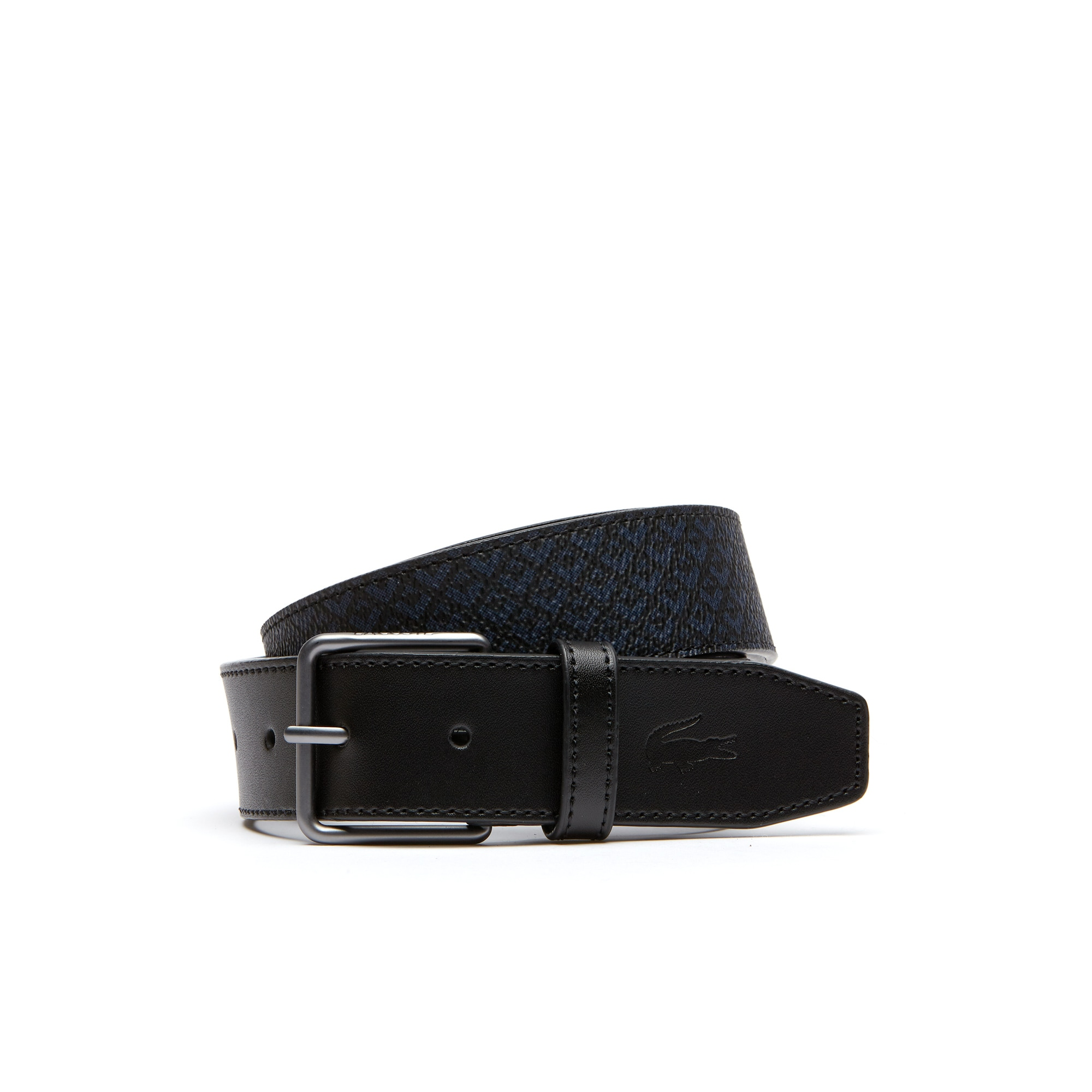 Edward Signature silk screened belt with leather tab