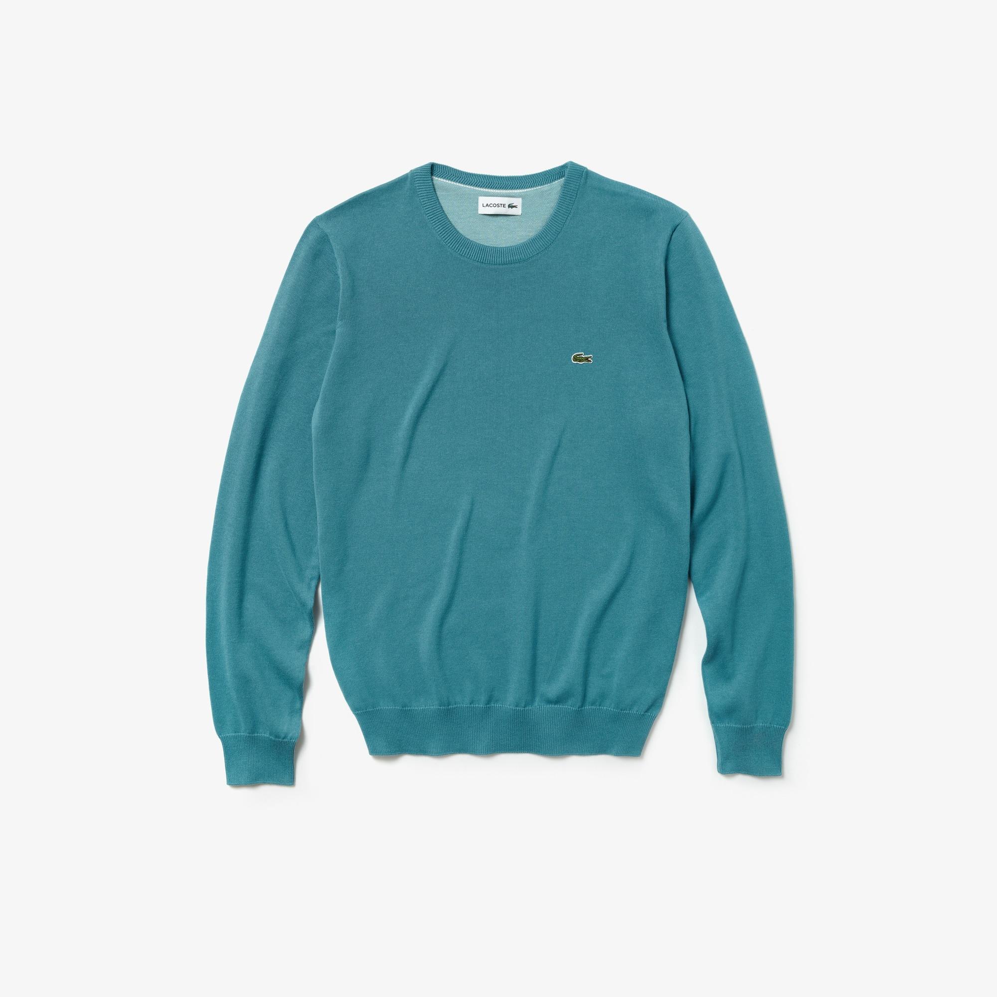 a0e2e5efc08 Men's Crew Neck Caviar Piqué Accent Cotton Jersey Sweater | LACOSTE