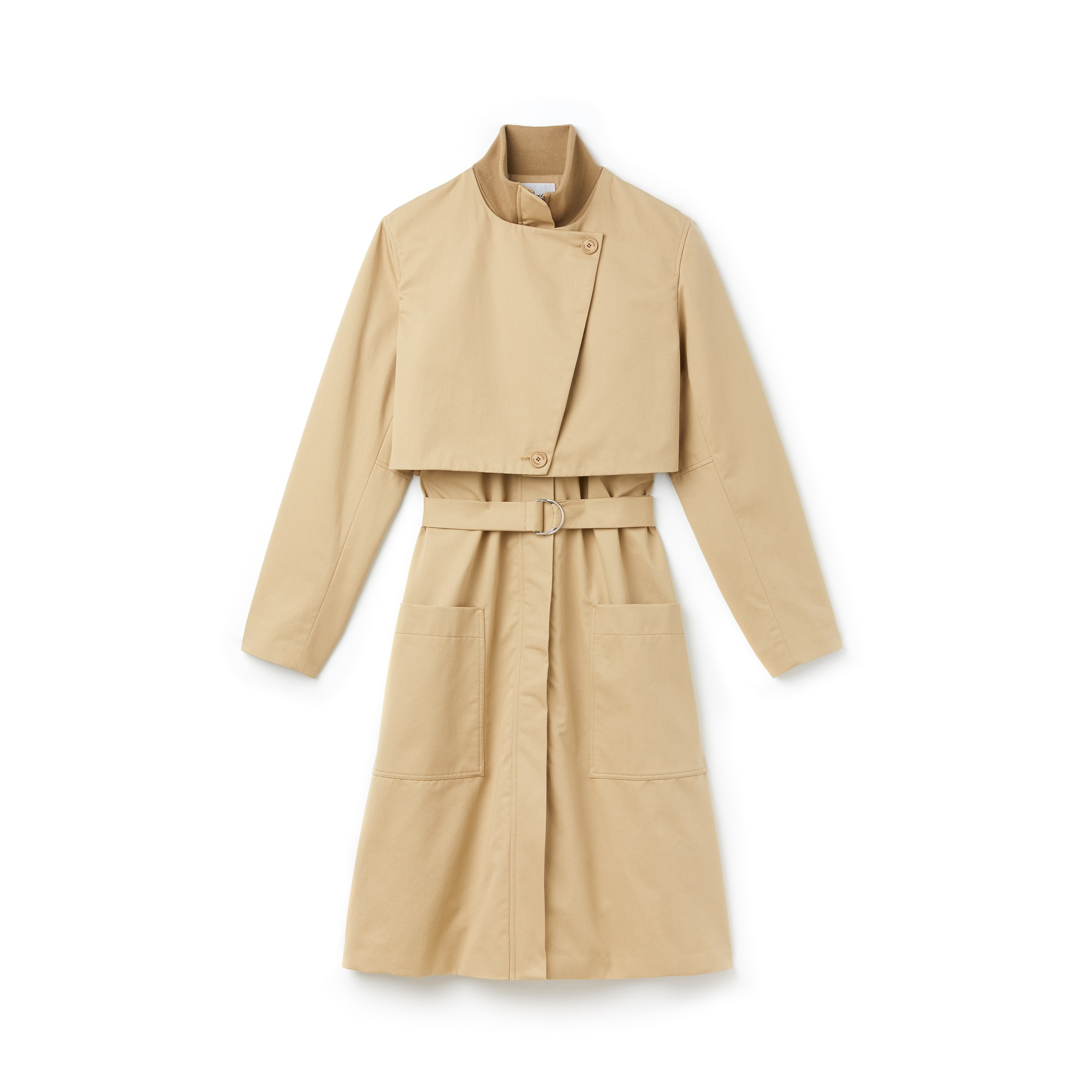 Women's Belted Long Cotton Twill Trench Coat With Storm Flaps