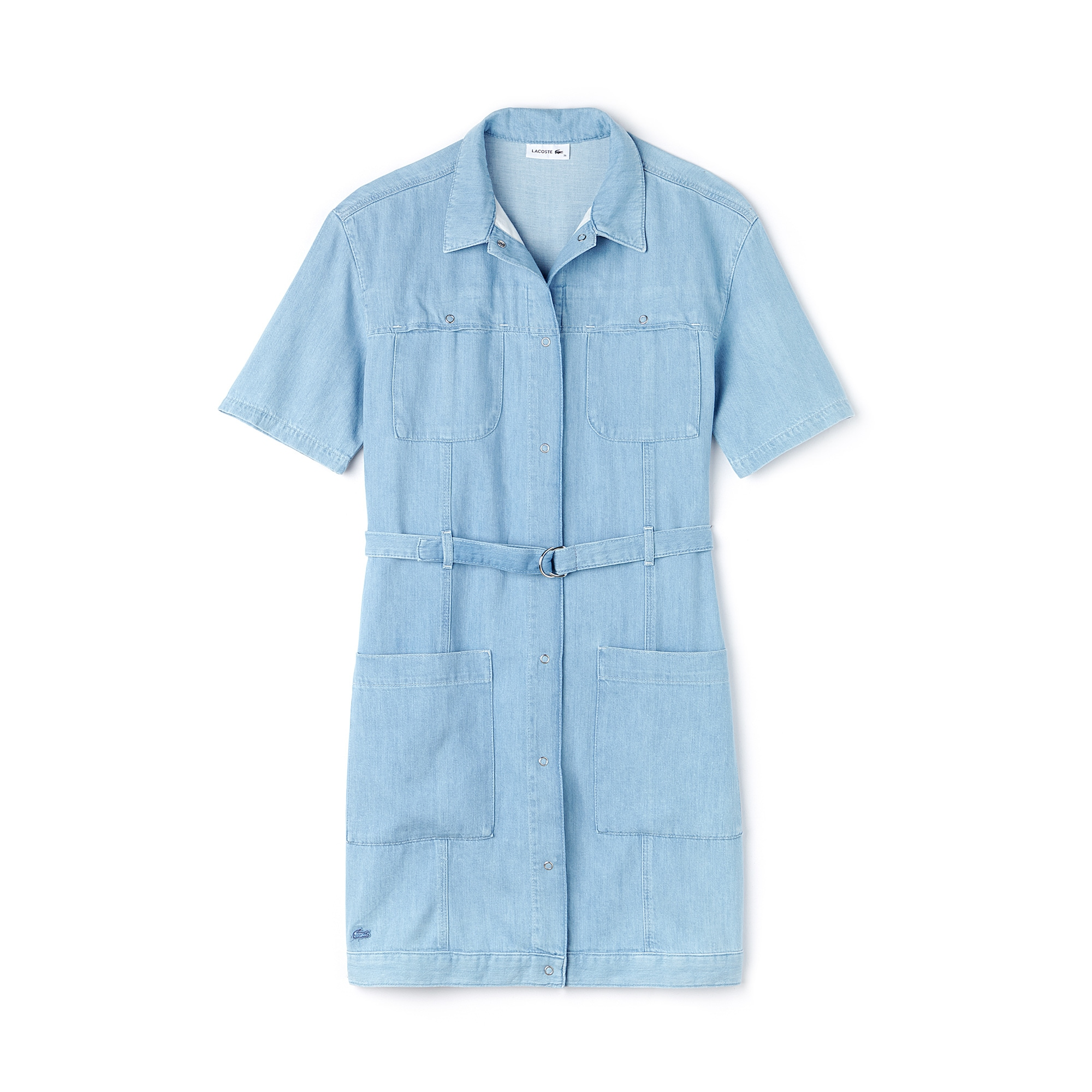 Women's Multi-Pocket Cotton Denim Belted Dress