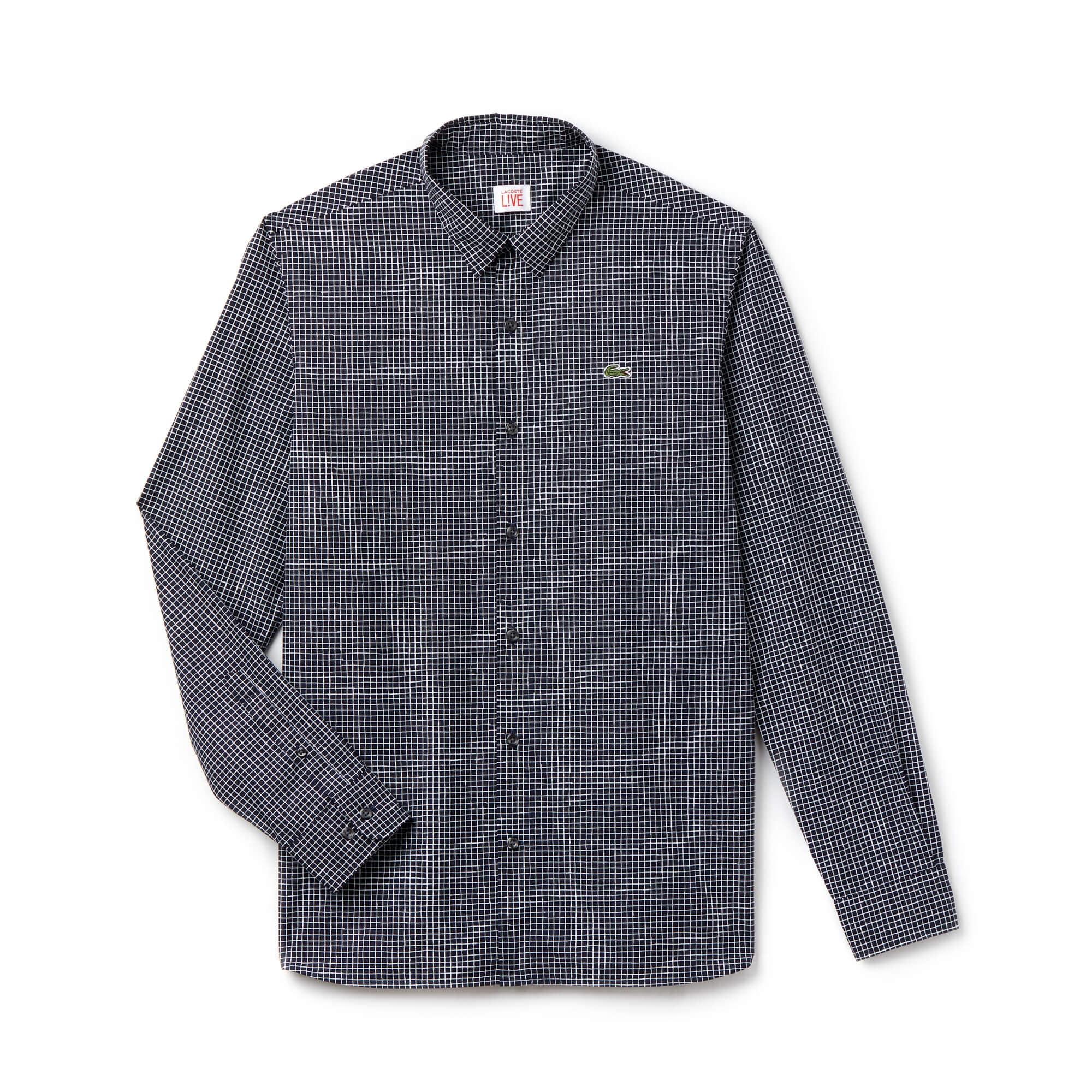 Men's Lacoste LIVE Slim Fit Mini Check Poplin Shirt