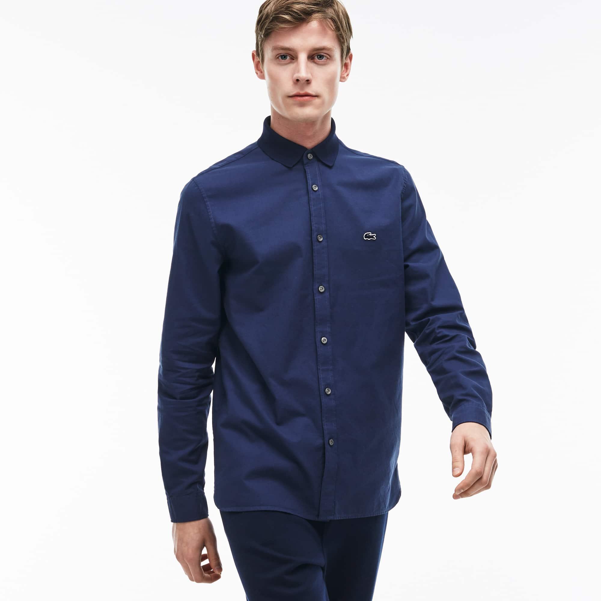 Men's Regular Fit Ribbed Neckline Oxford Cotton Shirt