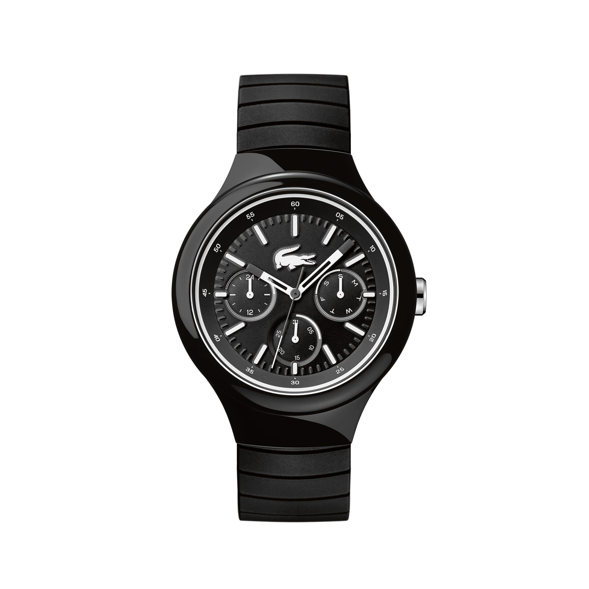 Borneo watch with black-white silicone strap