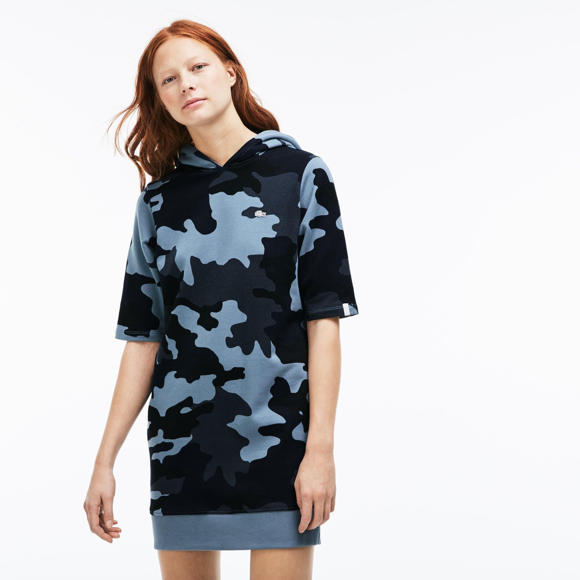 Women's Lacoste LIVE Hooded Camouflage Fleece Sweatshirt Dress