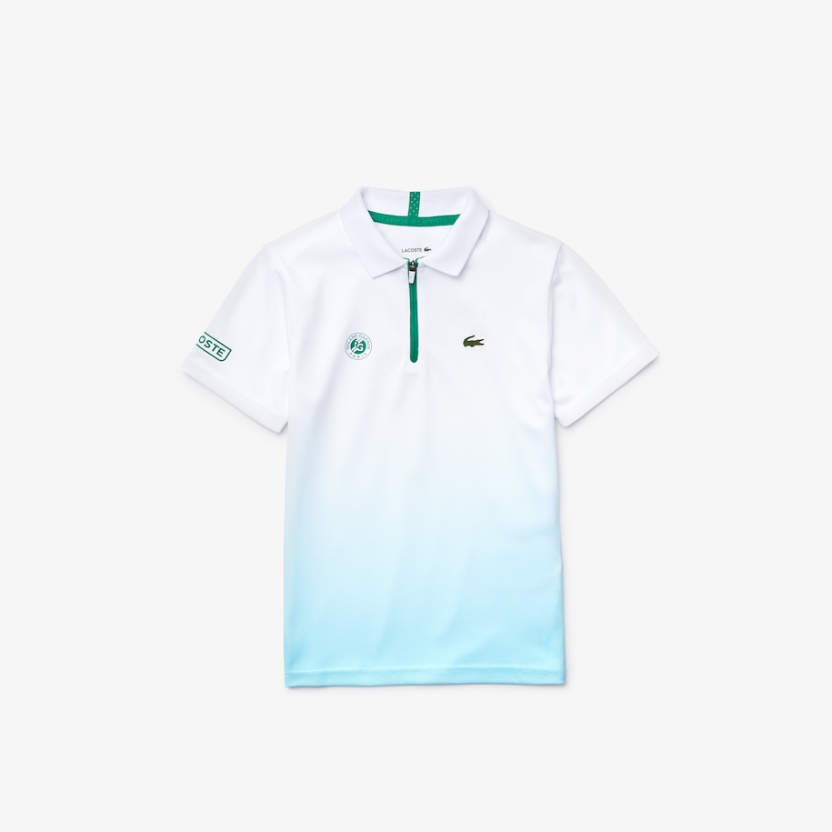 Boys' Lacoste SPORT Roland Garros Breathable Zip Polo Shirt