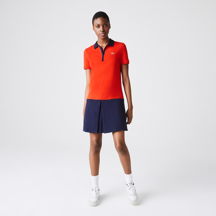 Women's Lacoste SPORT Roland Garros Two-Tone Cotton Polo Dress