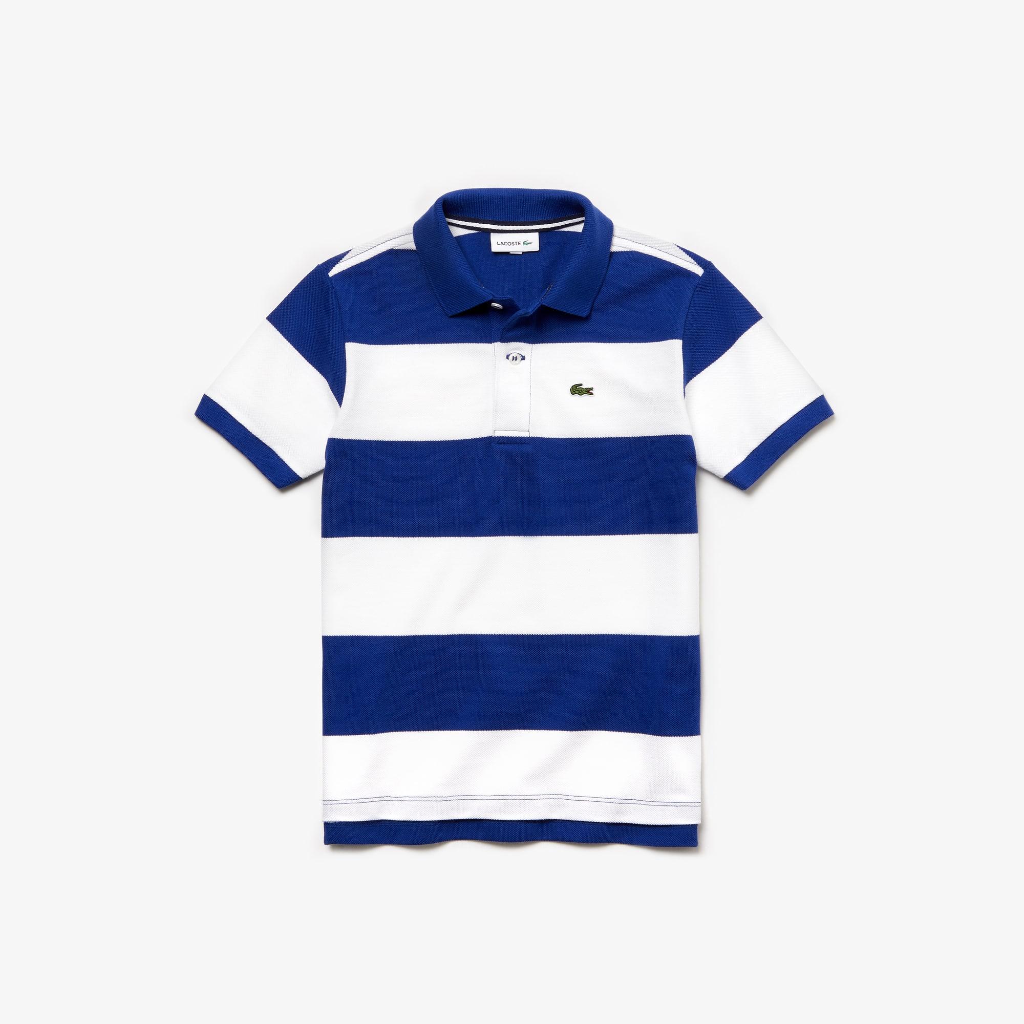 e67de729f2 Boys' Lacoste Striped Cotton Petit Piqué Polo Shirt   LACOSTE