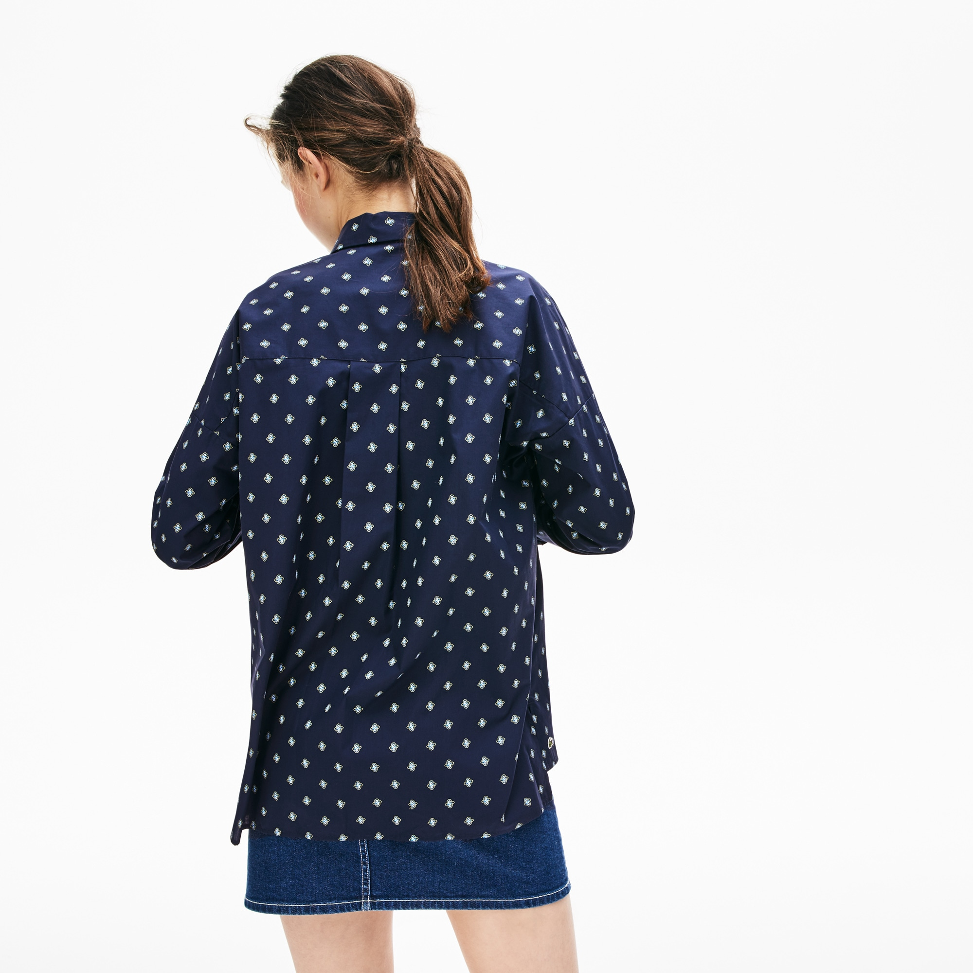 Women's Lacoste LIVE Loose Fit Knot-Sleeved Poplin Shirt