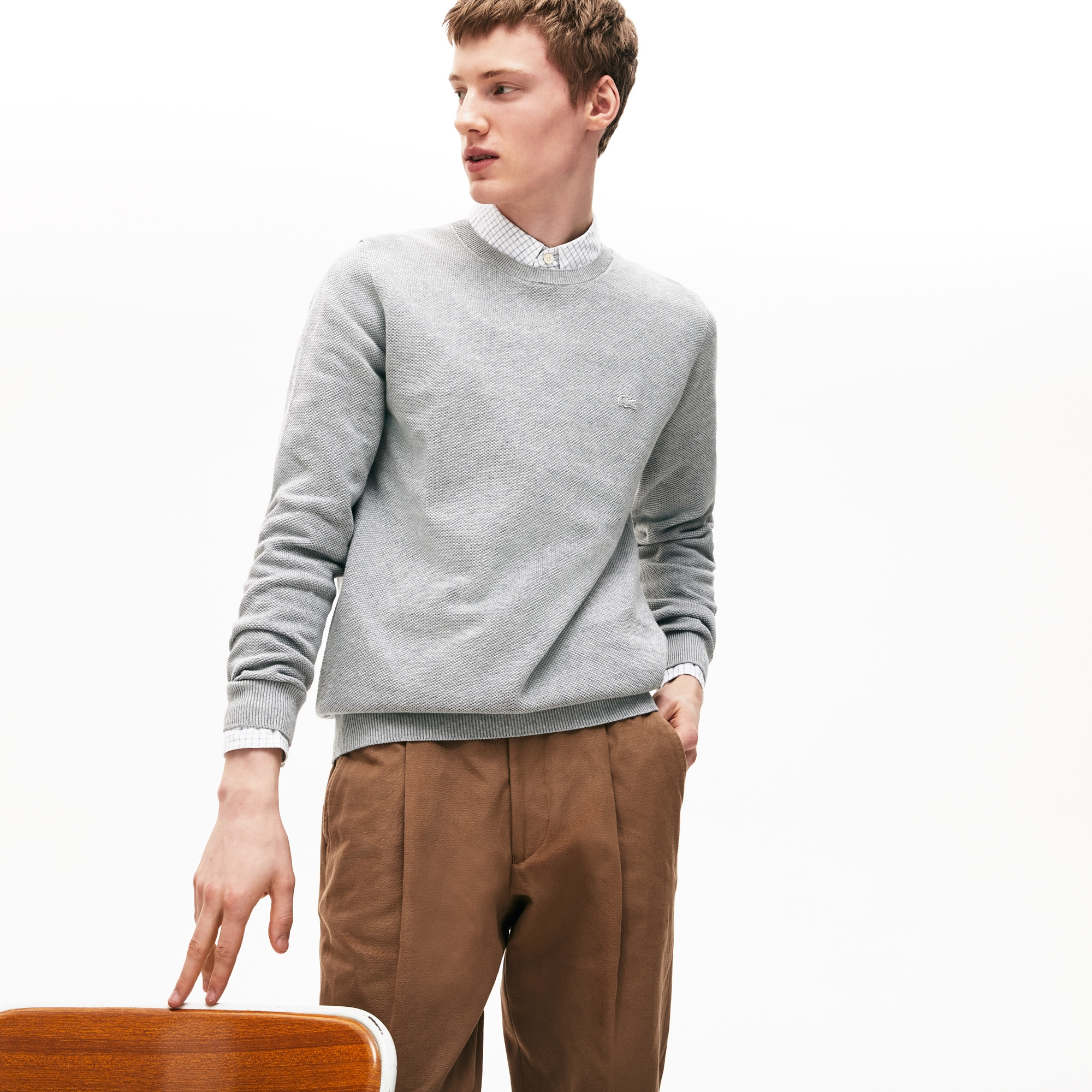 Men's Crew Neck Cotton Piqué Sweater