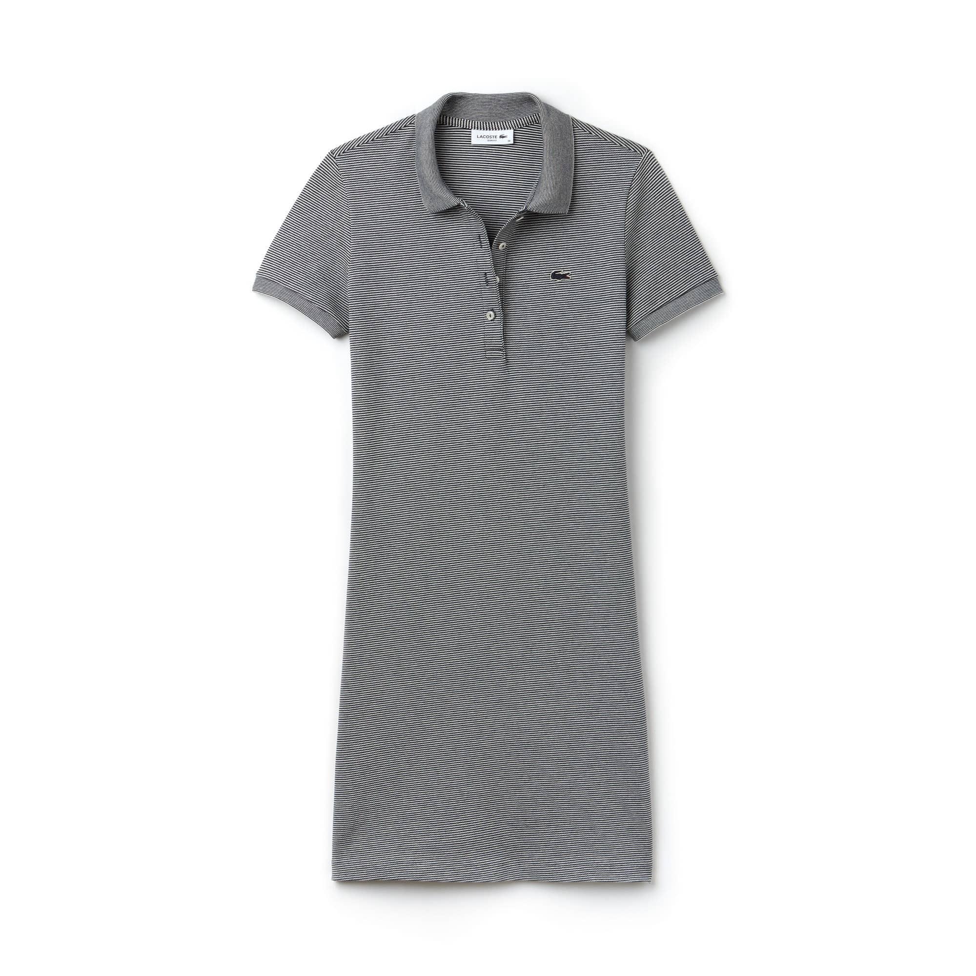 Women's Slim Fit Pinstriped Stretch Mini Piqué Polo Dress
