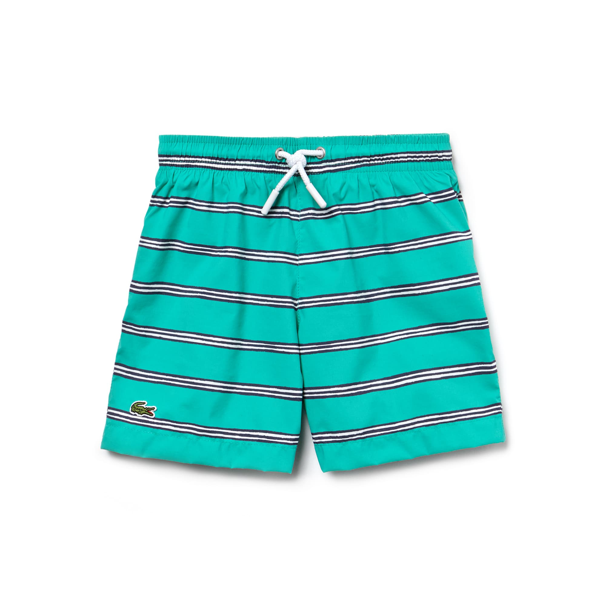 Boys' Striped Print Canvas Swimming Trunks