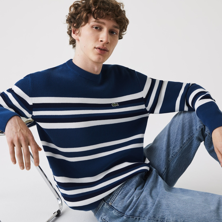 Men's Made in France Striped Organic Cotton Crew Neck Sweater