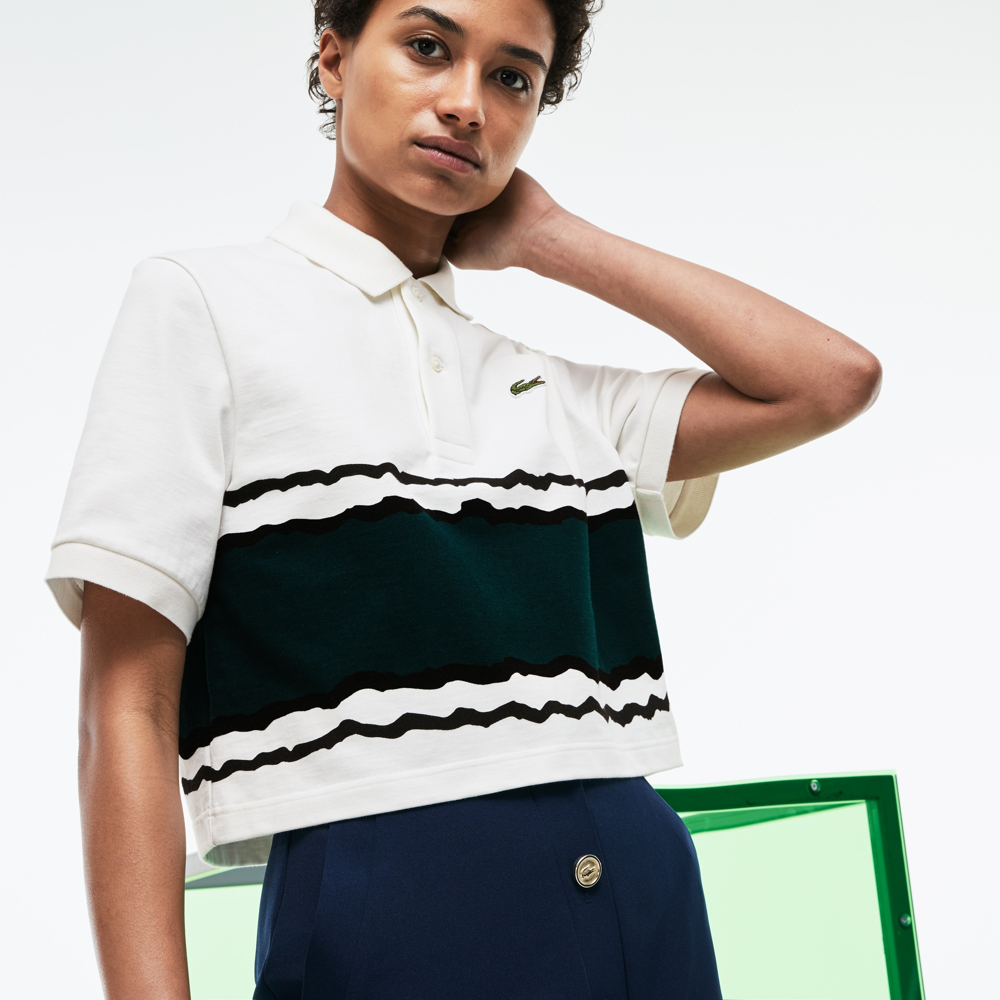 Women's Lacoste Fashion Show Cropped Fit Striped Cotton Jersey Polo