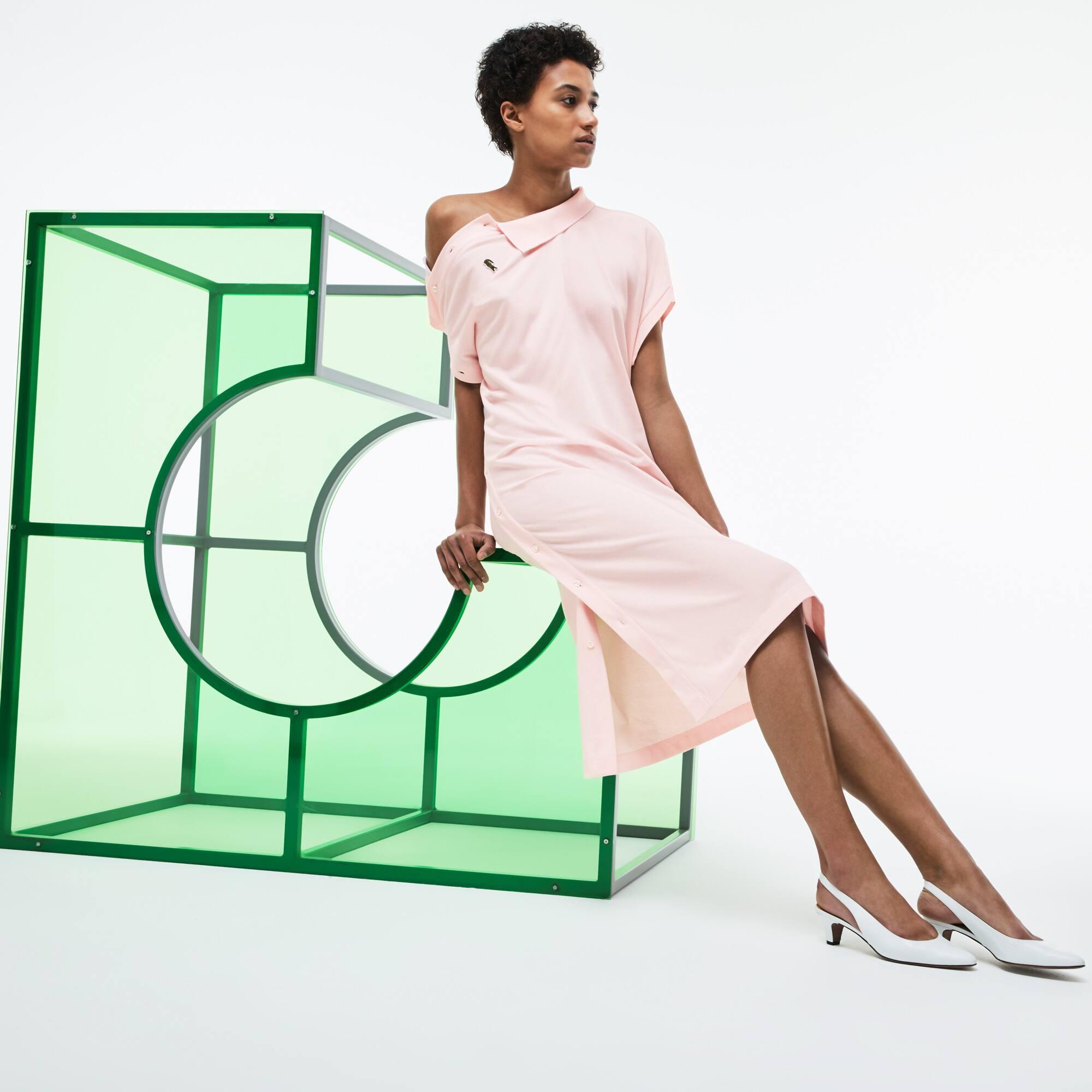 Women's Fashion Show Asymmetrical Cotton Piqué Polo Dress