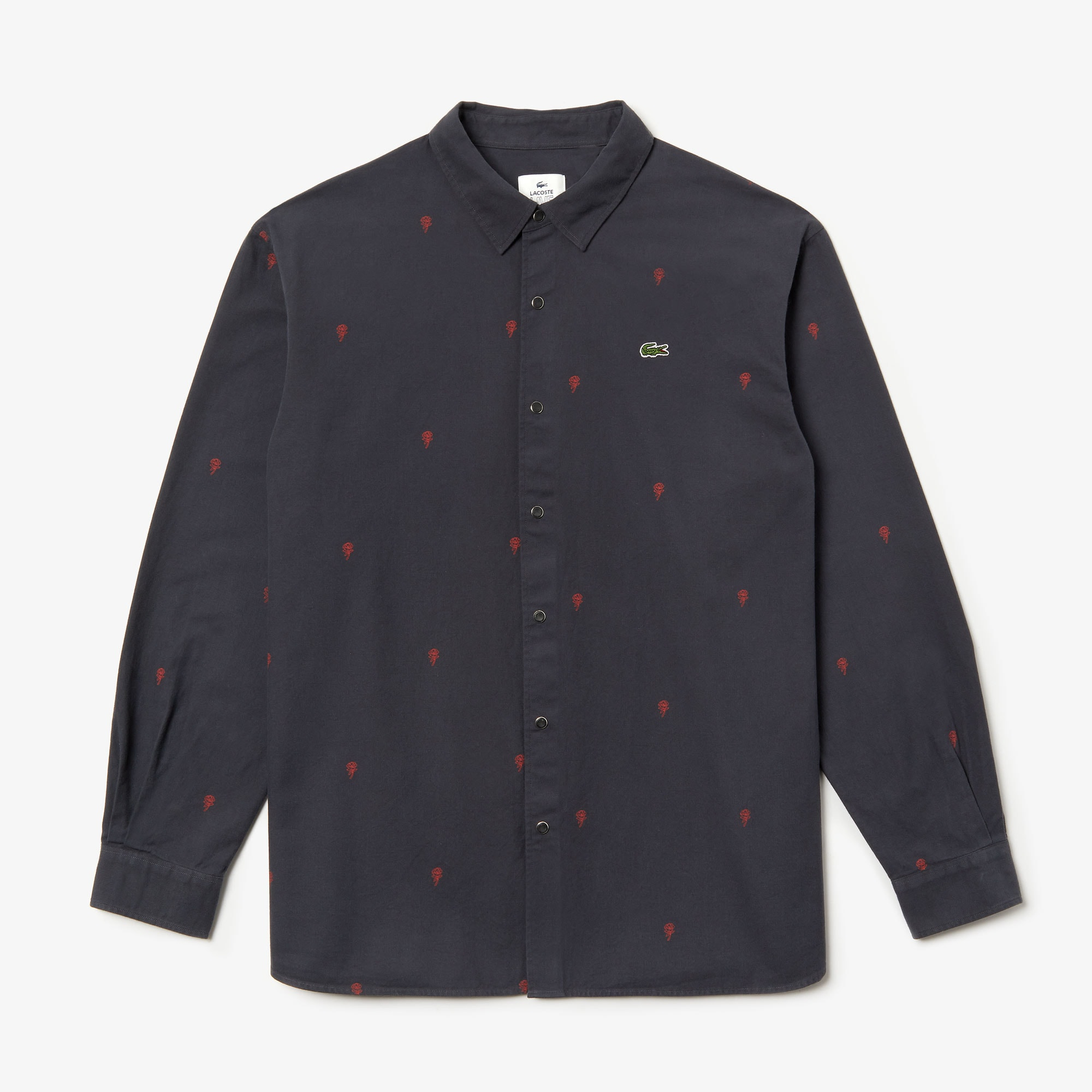 Men's Lacoste LIVE Boxy Fit Mini Rose Embroidery Cotton Shirt