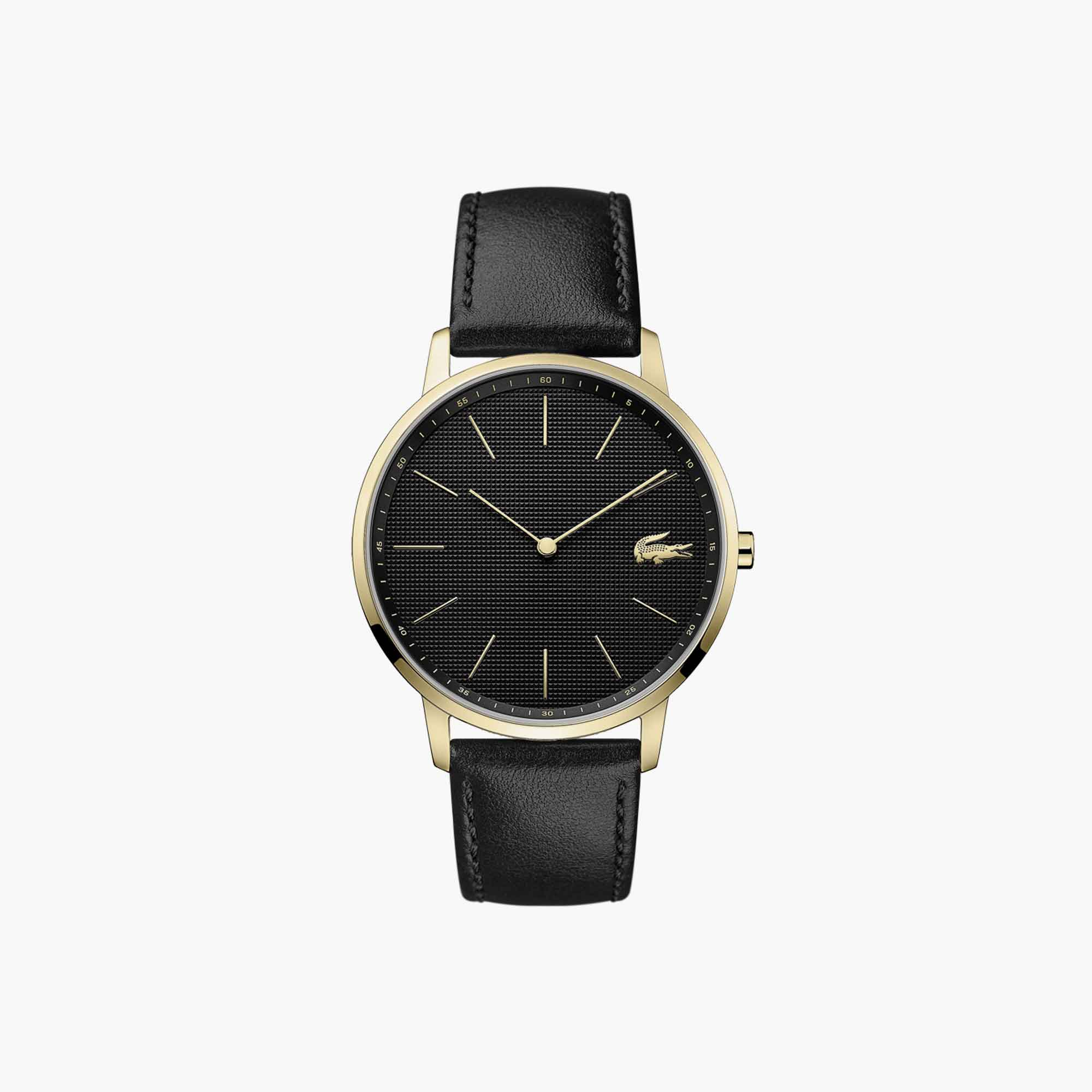 Gents Moon Watch with Black Leather Strap and Black Dial