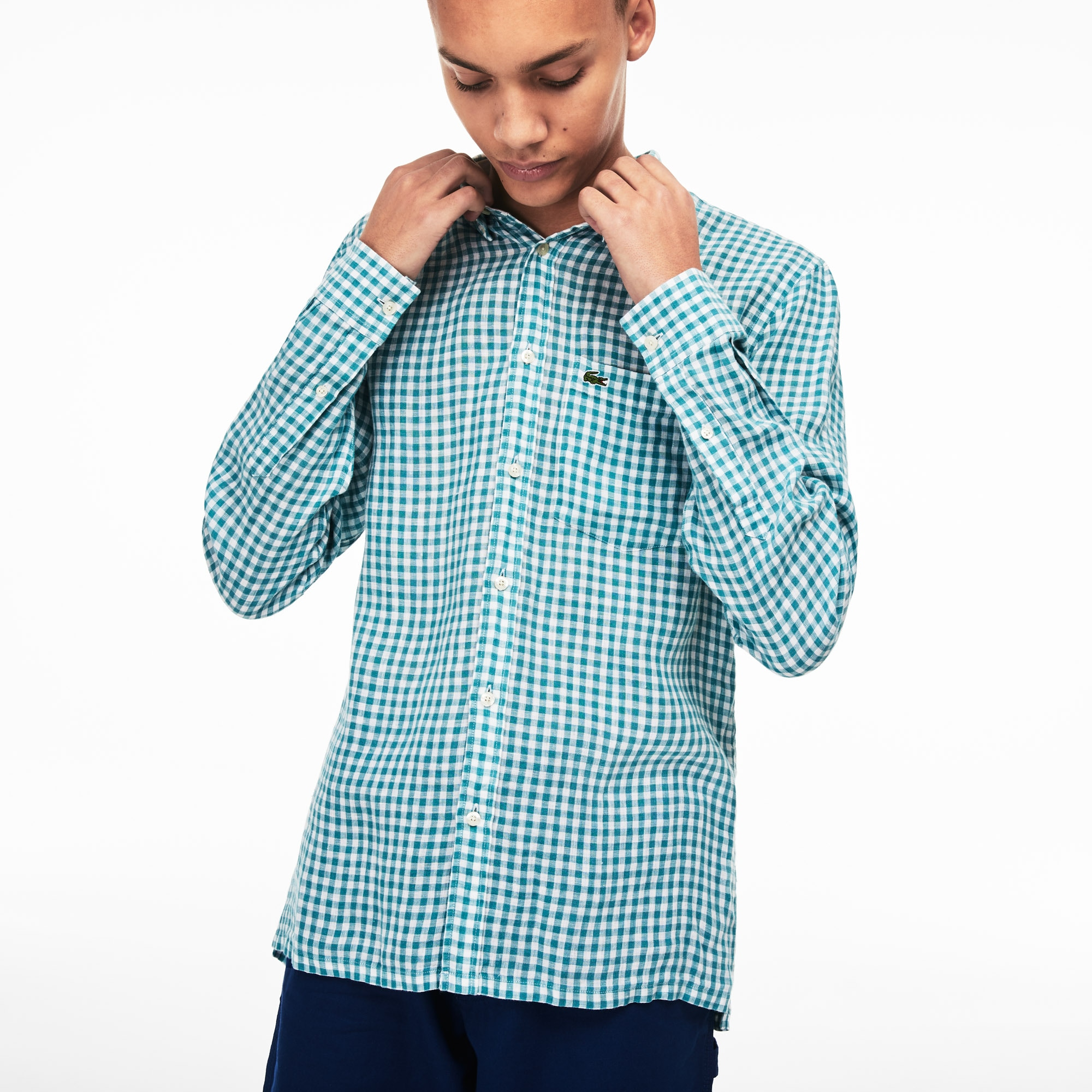 dc1eda8c5158c5 Men's Regular Fit Check Linen Canvas Shirt | LACOSTE