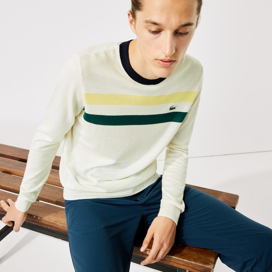 Men's Lacoste SPORT Breathable Striped Wool Golf Sweater