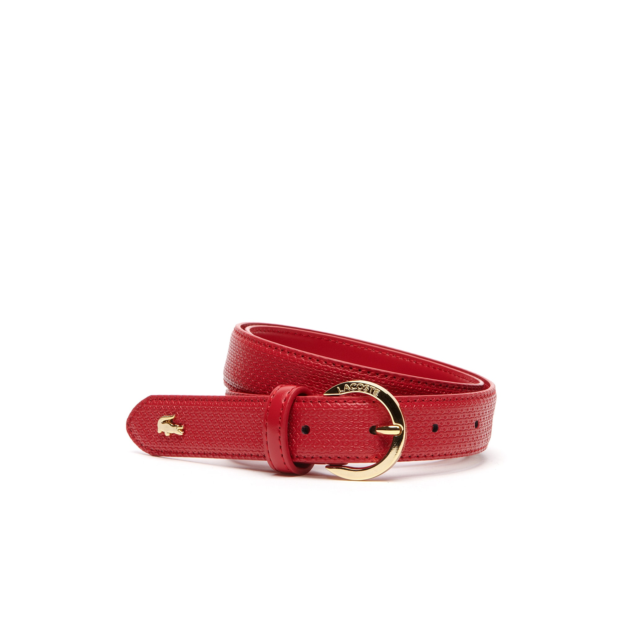 Women's Chantaco belt in fine piqué print leather with gold-tone buckle