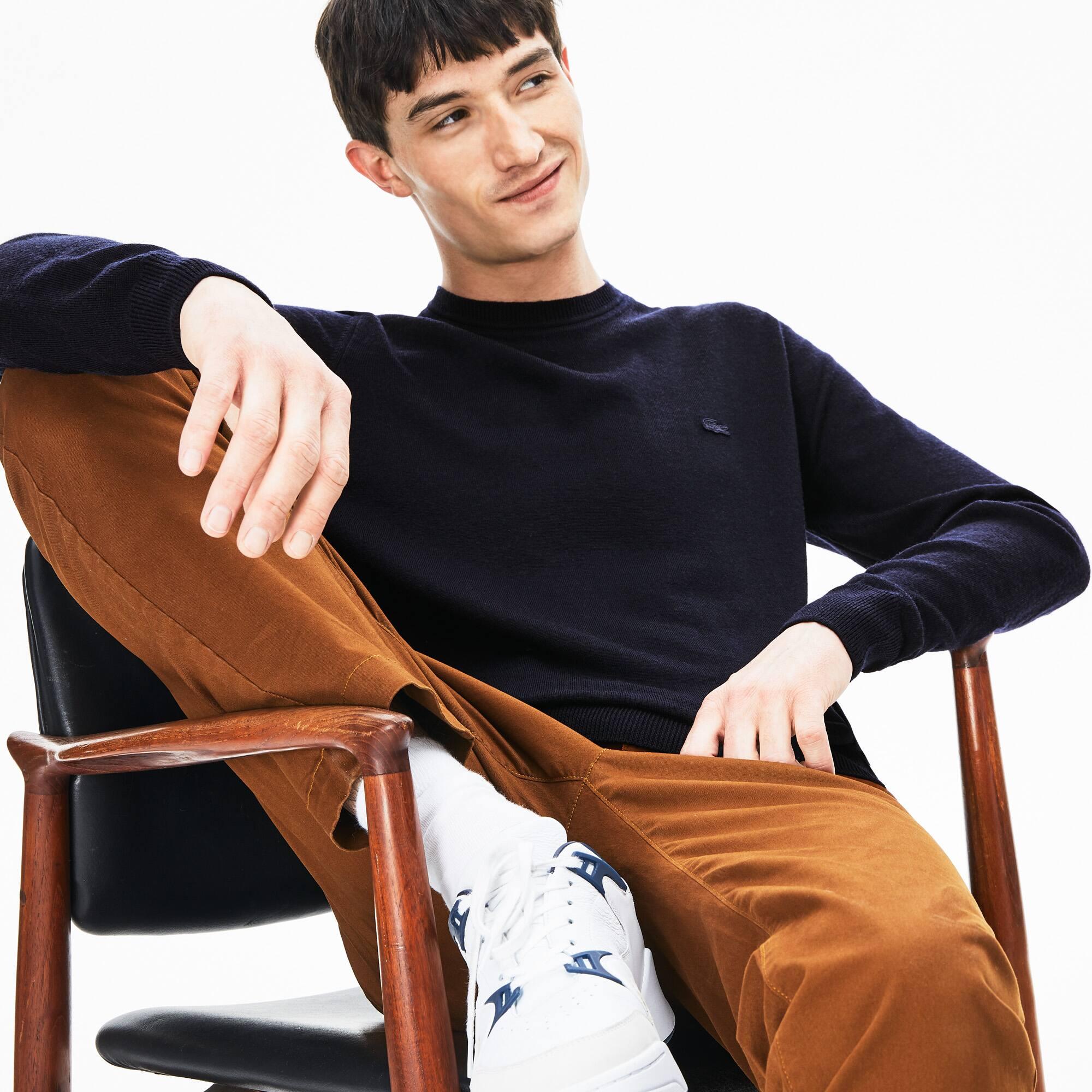 Men's Crew Neck Wool Jersey Sweater